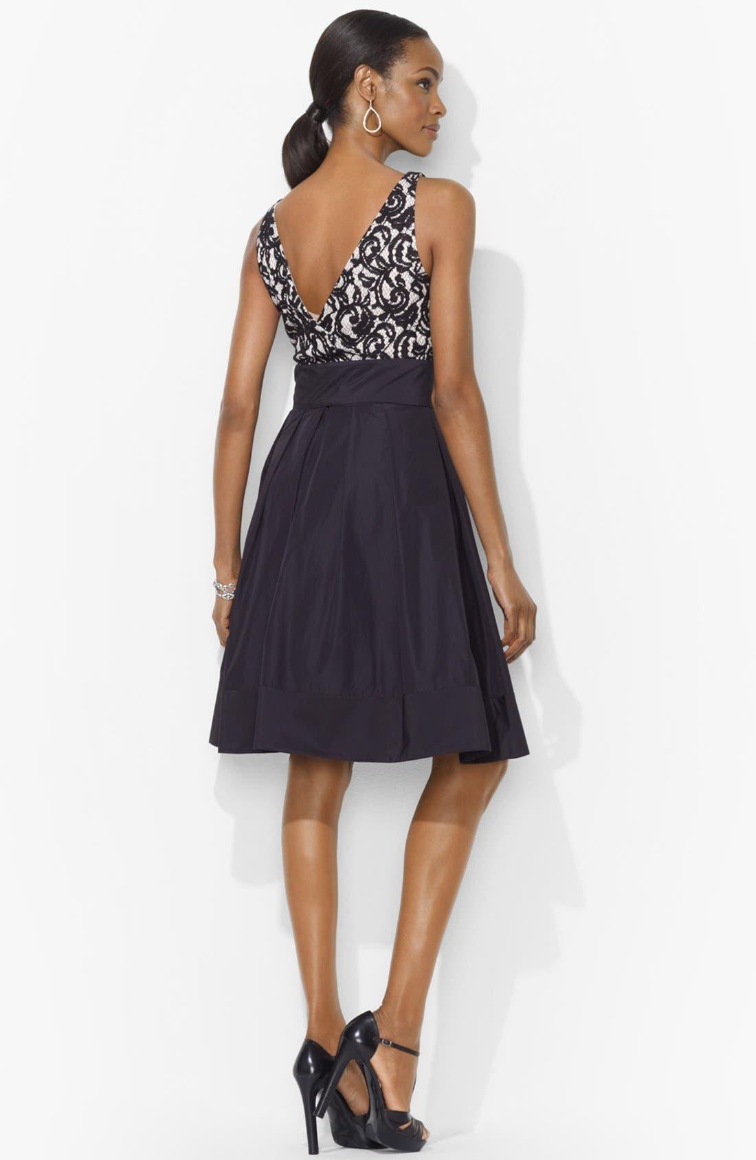 Alternate Image 2  - Lauren Ralph Lauren Lace Bodice Fit & Flare Dress