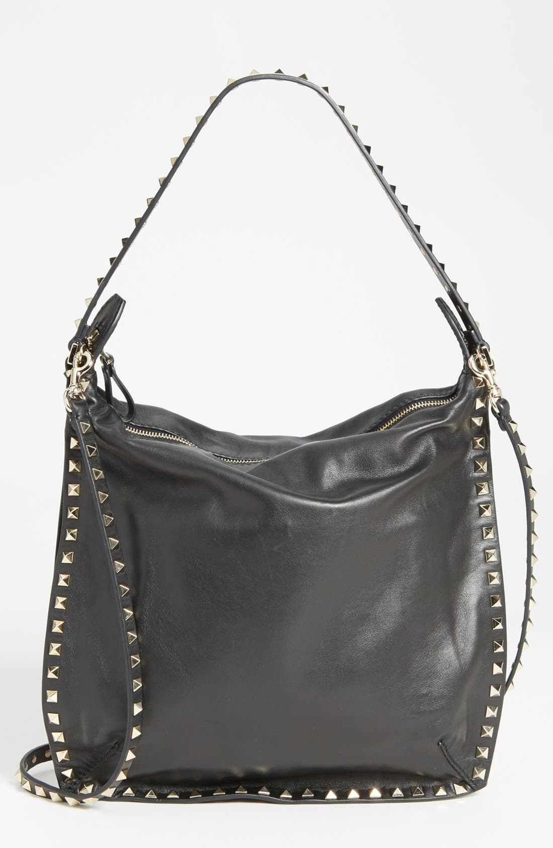 Alternate Image 1 Selected - Valentino 'Small Rockstud' Leather Hobo