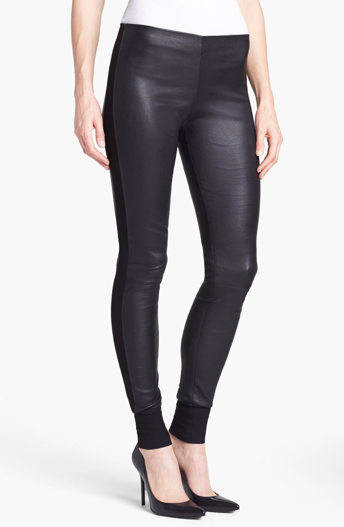 Main Image - Vince Leather & Knit Skinny Pants