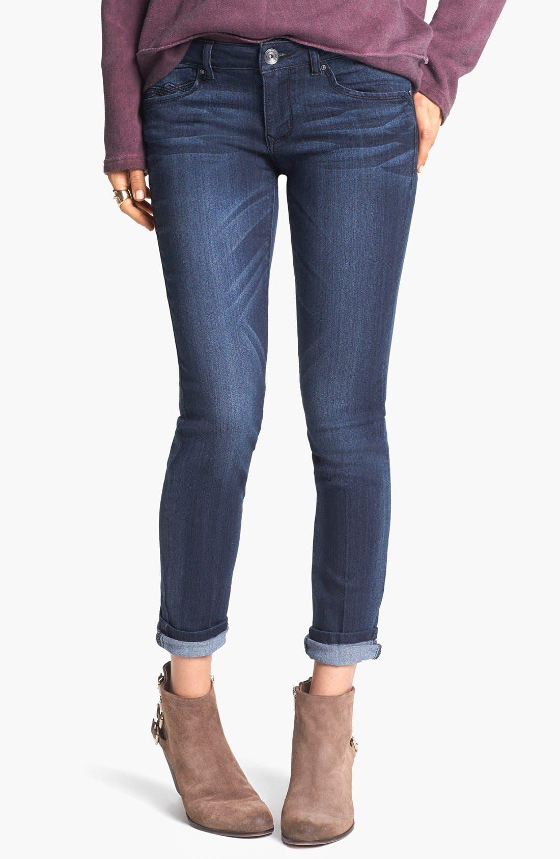 Alternate Image 2  - Jolt 'Aircord' Embroidered Pocket Skinny Jeans (Dark) (Juniors)