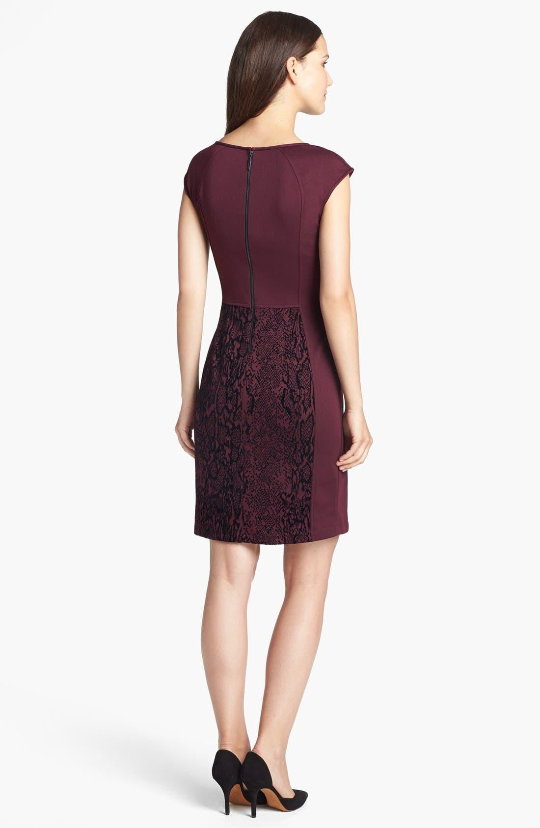 Alternate Image 2  - Donna Ricco Jacquard Panel Sheath Dress