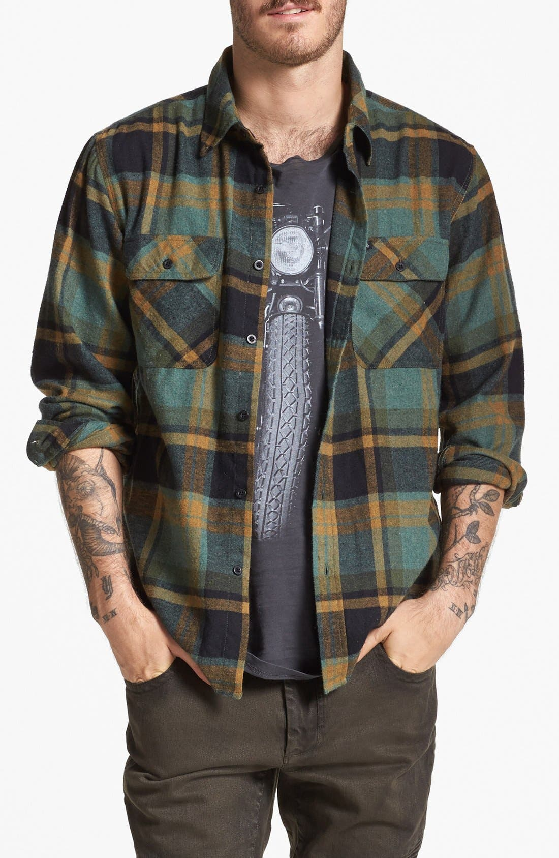 Main Image - Brixton 'Bowery' Plaid Flannel Shirt