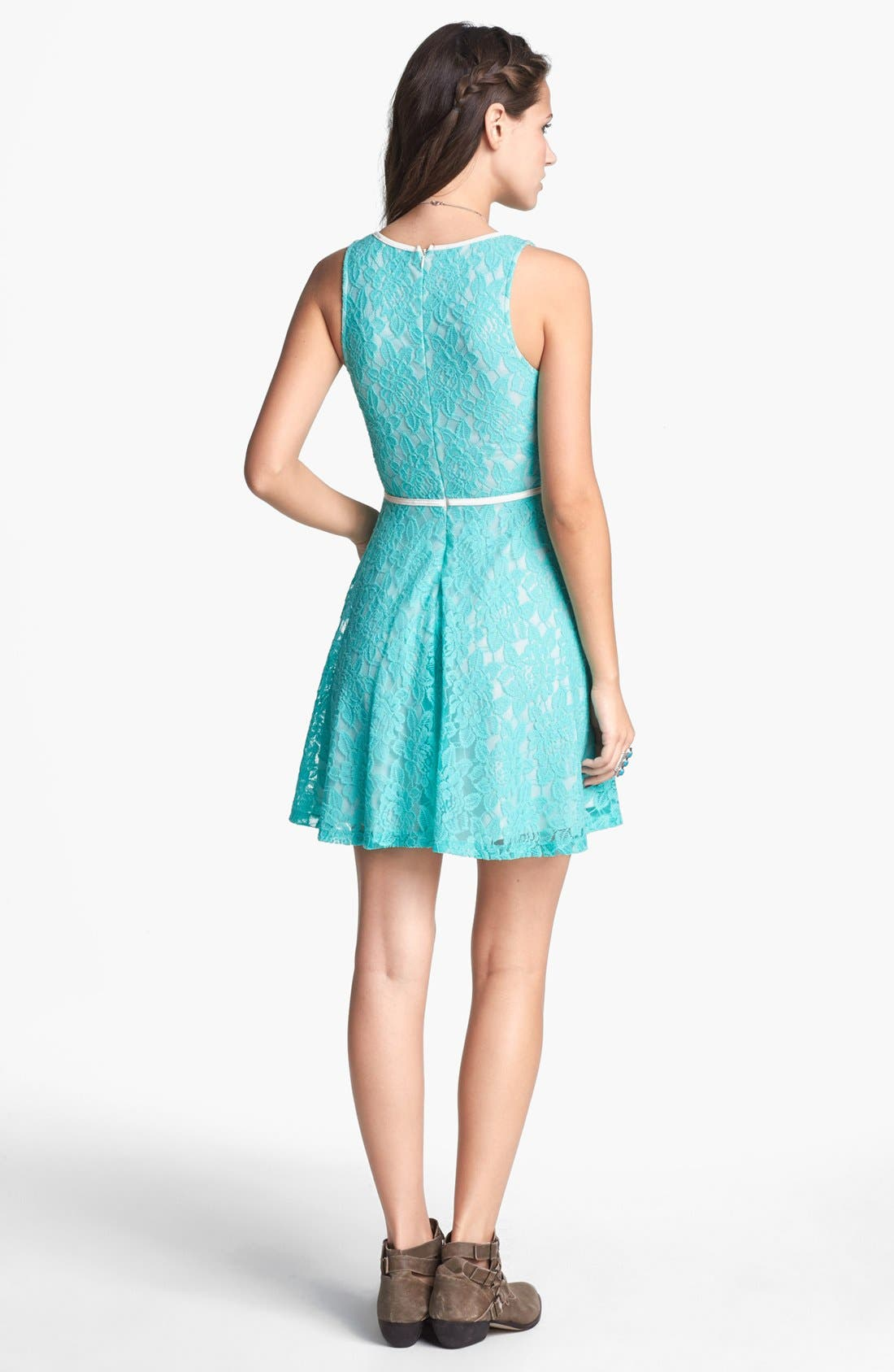 Alternate Image 2  - Lush Faux Leather Trim Lace Skater Dress (Juniors)
