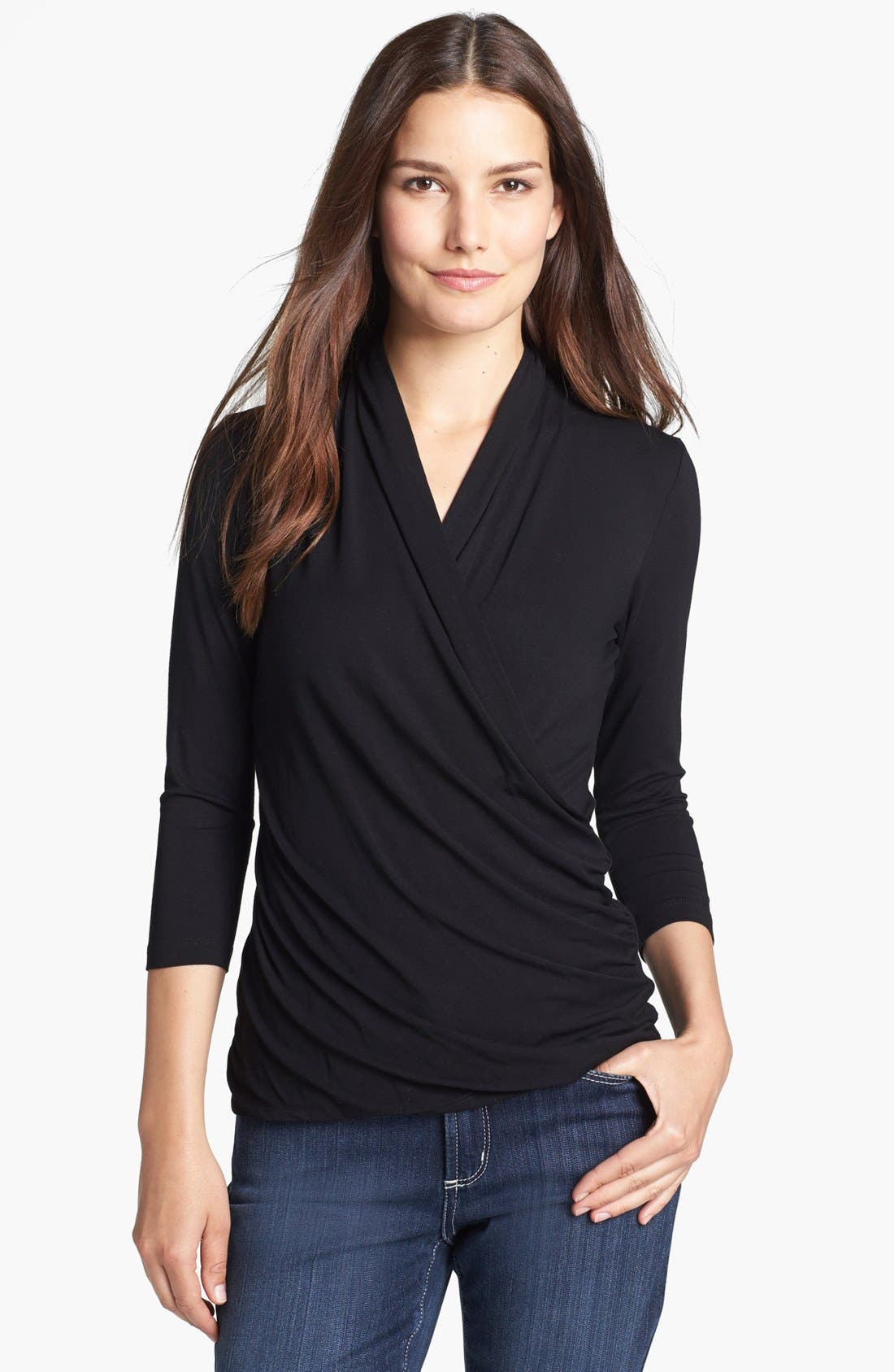 Alternate Image 1 Selected - Chaus Surplice Neck Jersey Top
