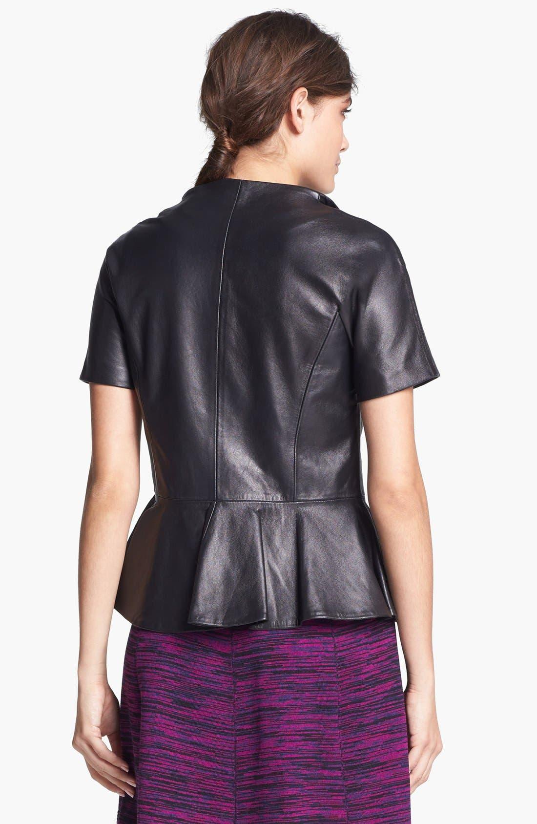 Alternate Image 2  - B and K by BUCHANAN & KANG Leather Peplum Jacket