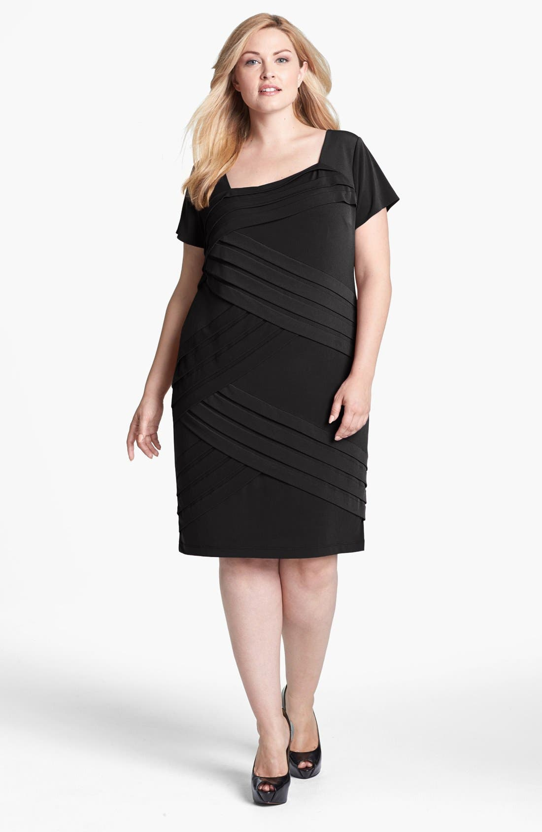 Main Image - London Times Shutter Pleat Sheath Dress (Plus Size)