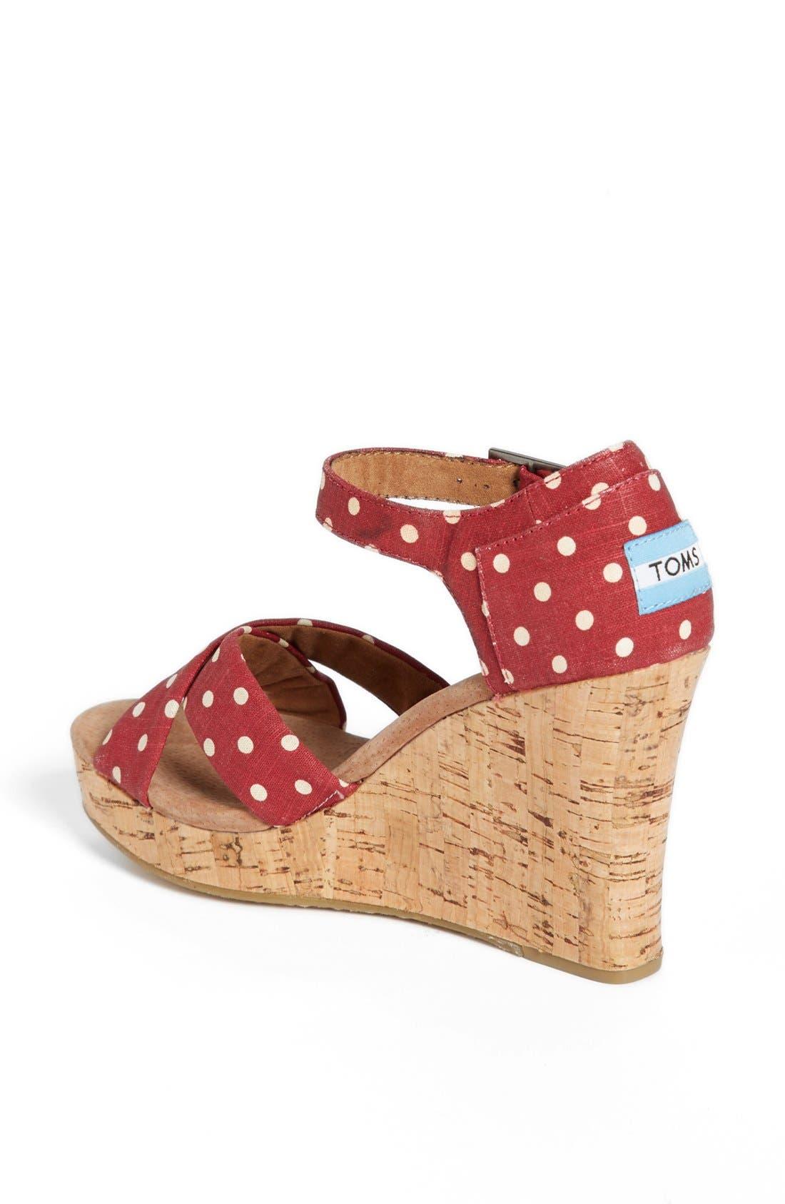 Alternate Image 2  - TOMS Polka Dot Linen Woven Wedge Sandal