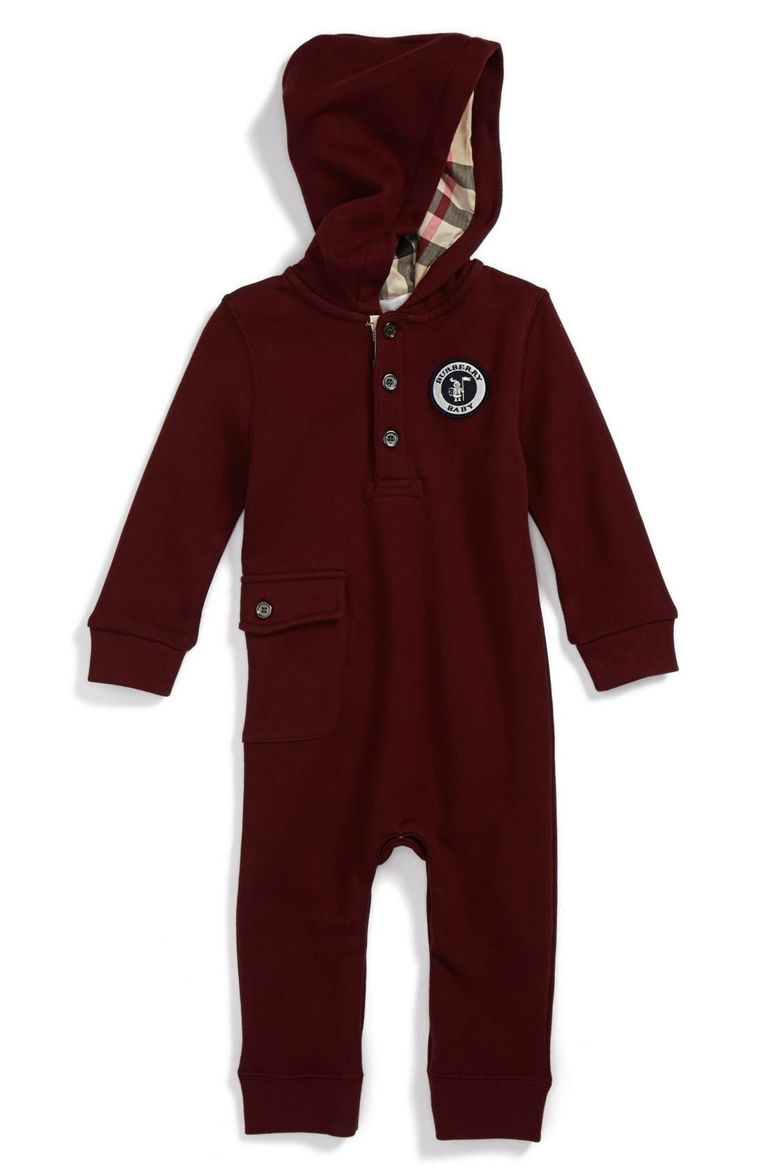 Alternate Image 1 Selected - Burberry 'Frani' Henley Hooded Romper (Toddler Boys)
