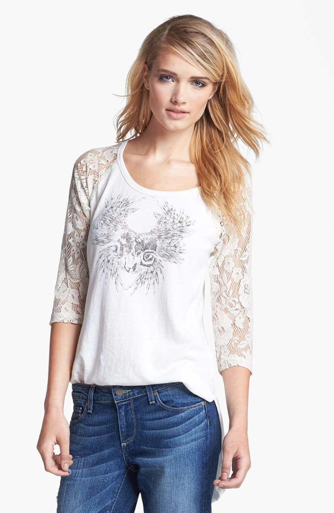 Alternate Image 3  - Free People Graphic Lace Sleeve Tee