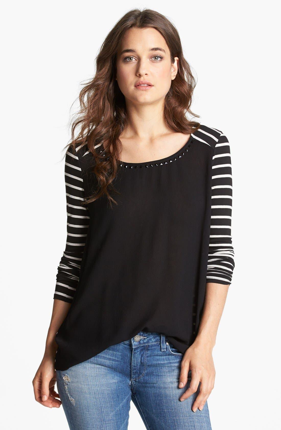 Alternate Image 1 Selected - Ella Moss Studded Neck Stripe Top