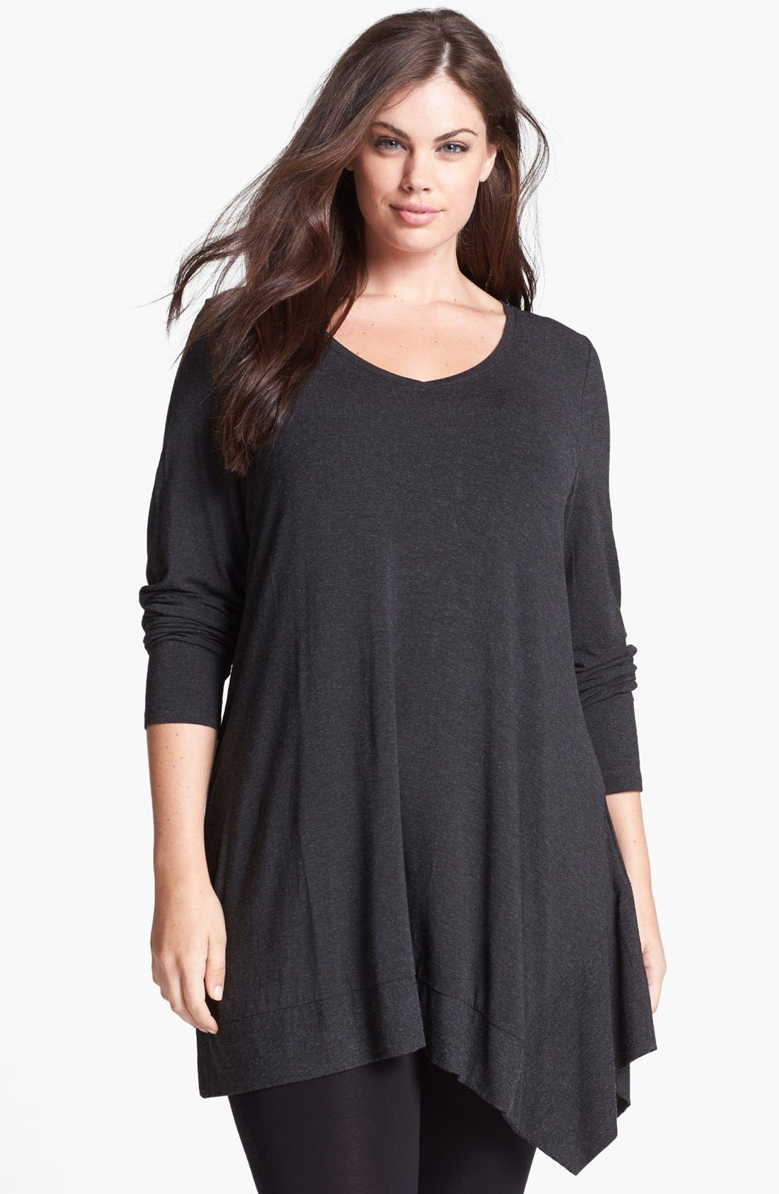 Alternate Image 1 Selected - Eileen Fisher Jersey Tunic (Plus Size)
