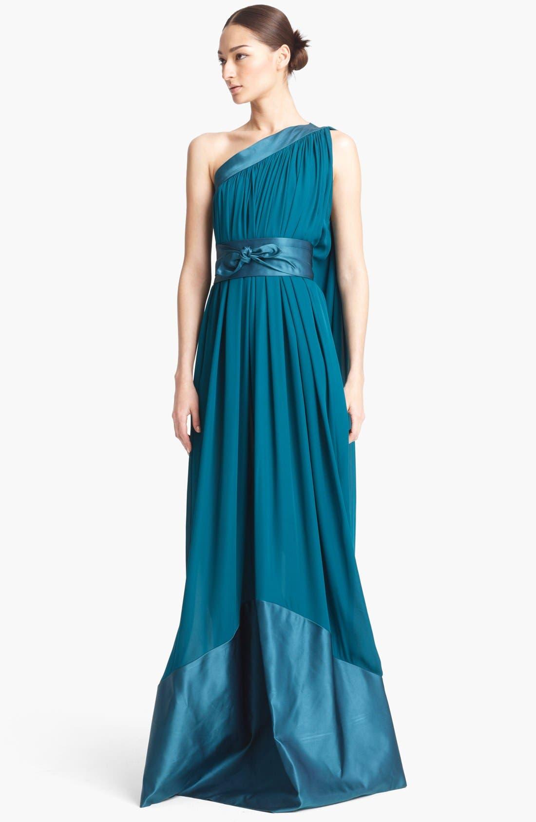 Main Image - Naeem Khan One Shoulder Silk Gown
