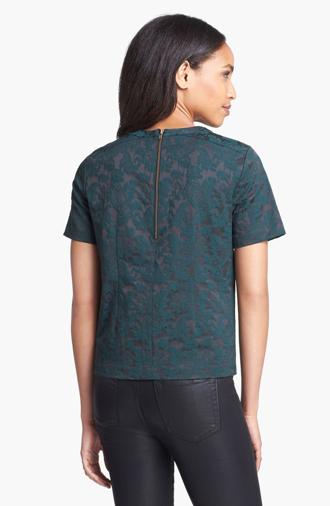 Alternate Image 4  - Halogen® Back Zip Jacquard Top