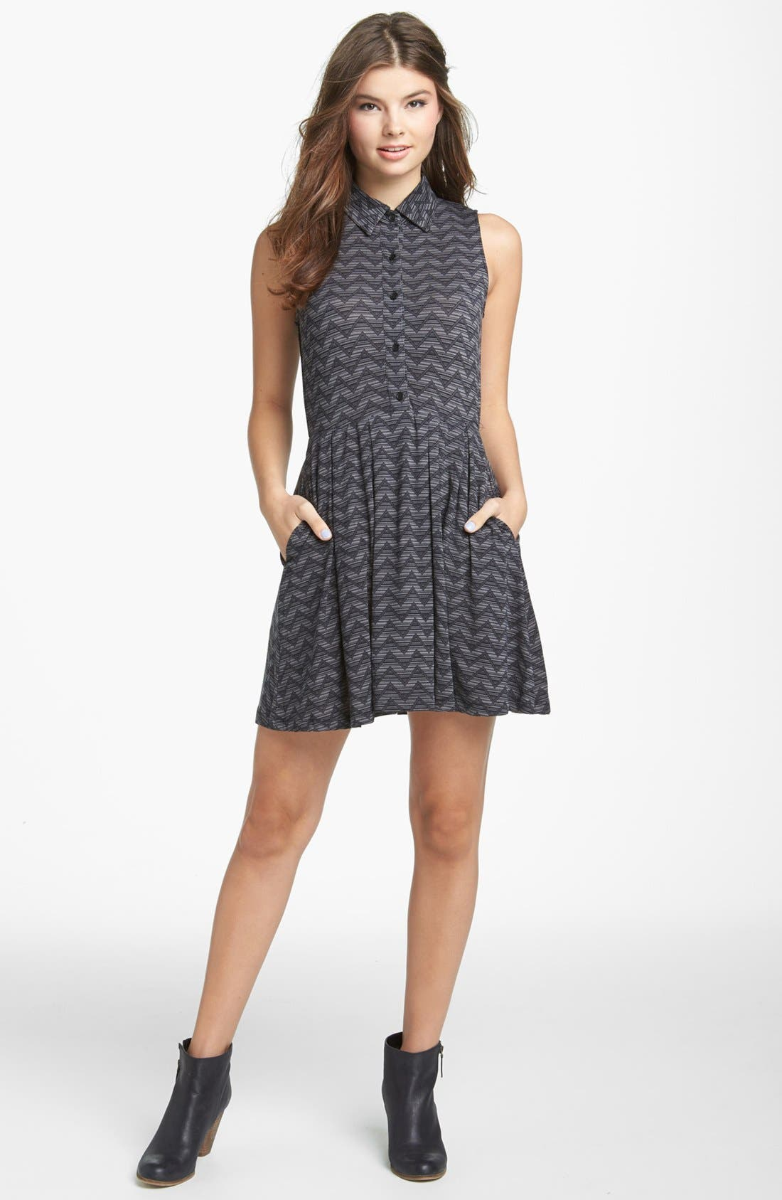 Alternate Image 1 Selected - Mimi Chica Lace Back Shirtdress (Juniors)