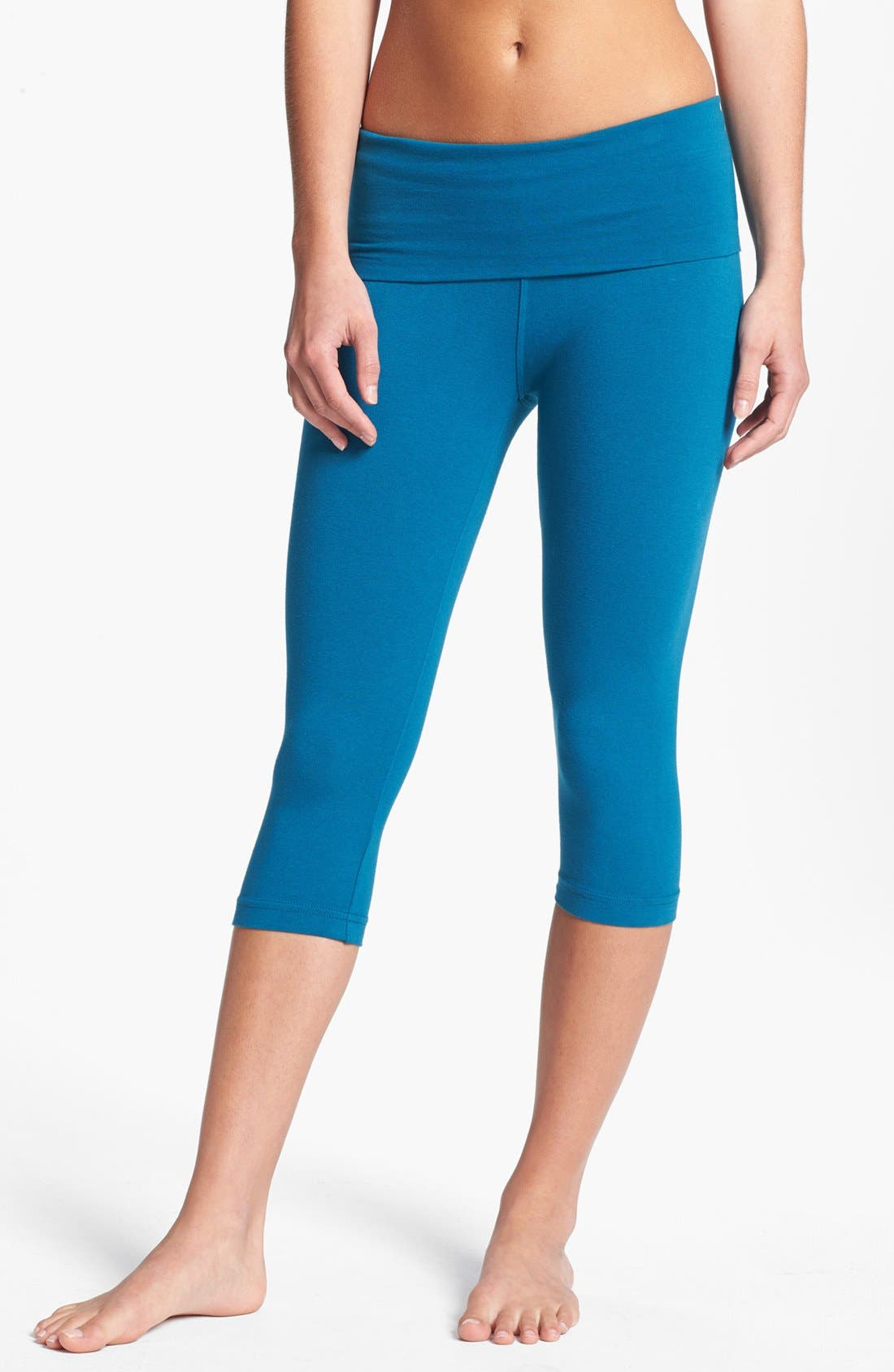 Main Image - Hard Tail Roll Waist Knee Length Leggings