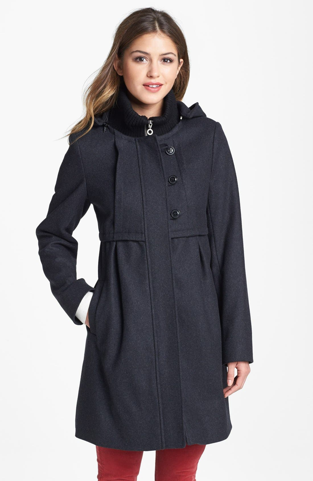Main Image - DKNY Knit Collar Babydoll Coat with Detachable Hood (Online Only)