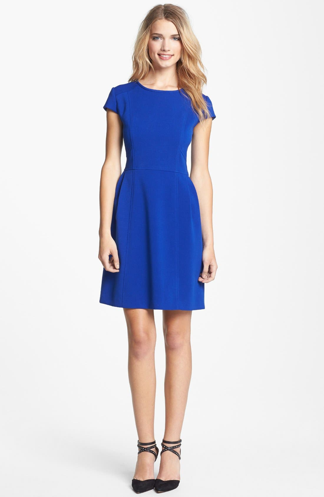 Alternate Image 1 Selected - Eliza J Seamed Double Knit Crepe Fit & Flare Dress (Regular & Petite)