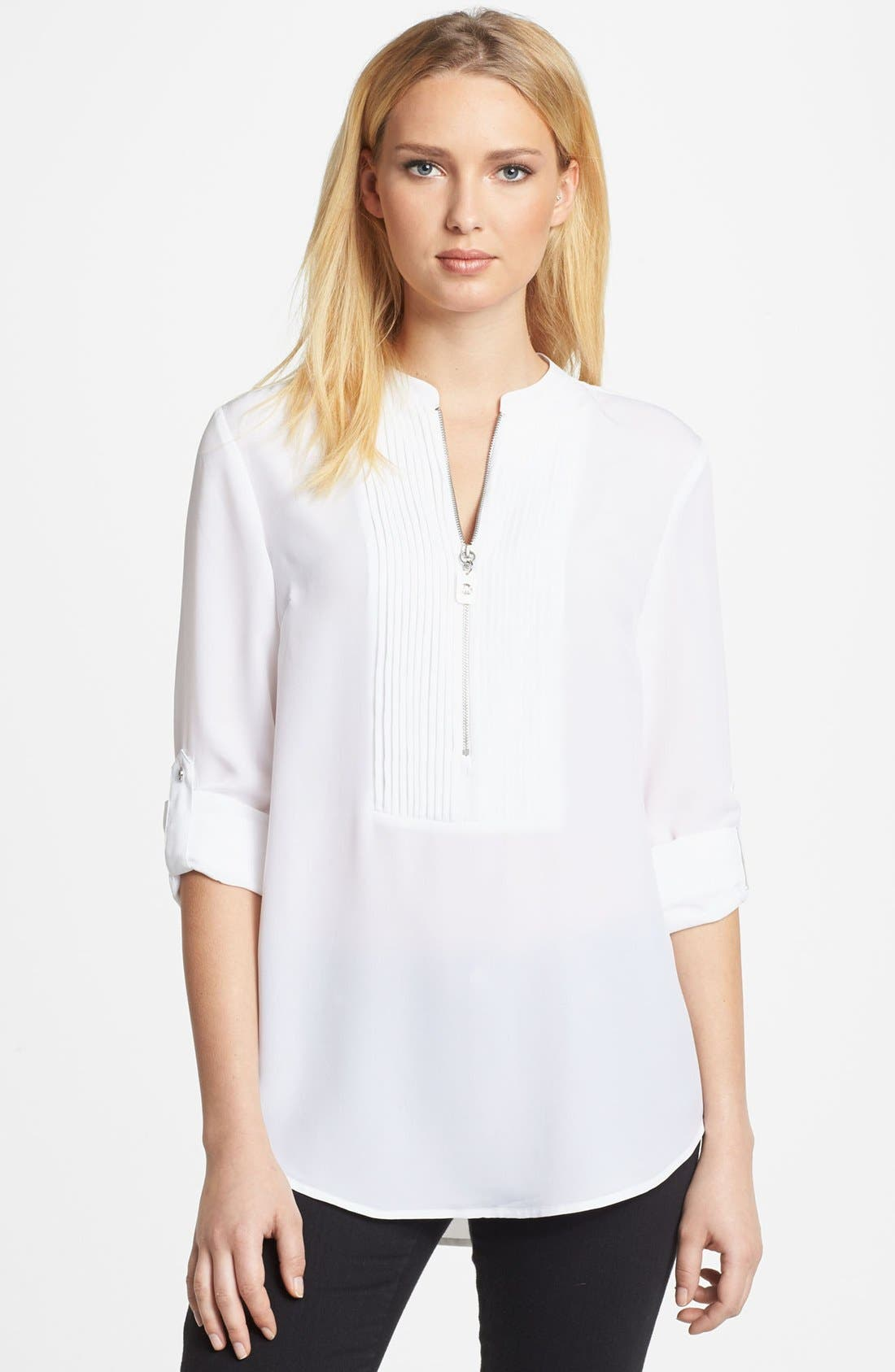 Alternate Image 1 Selected - MICHAEL Michael Kors Tuxedo Pleated Shirt
