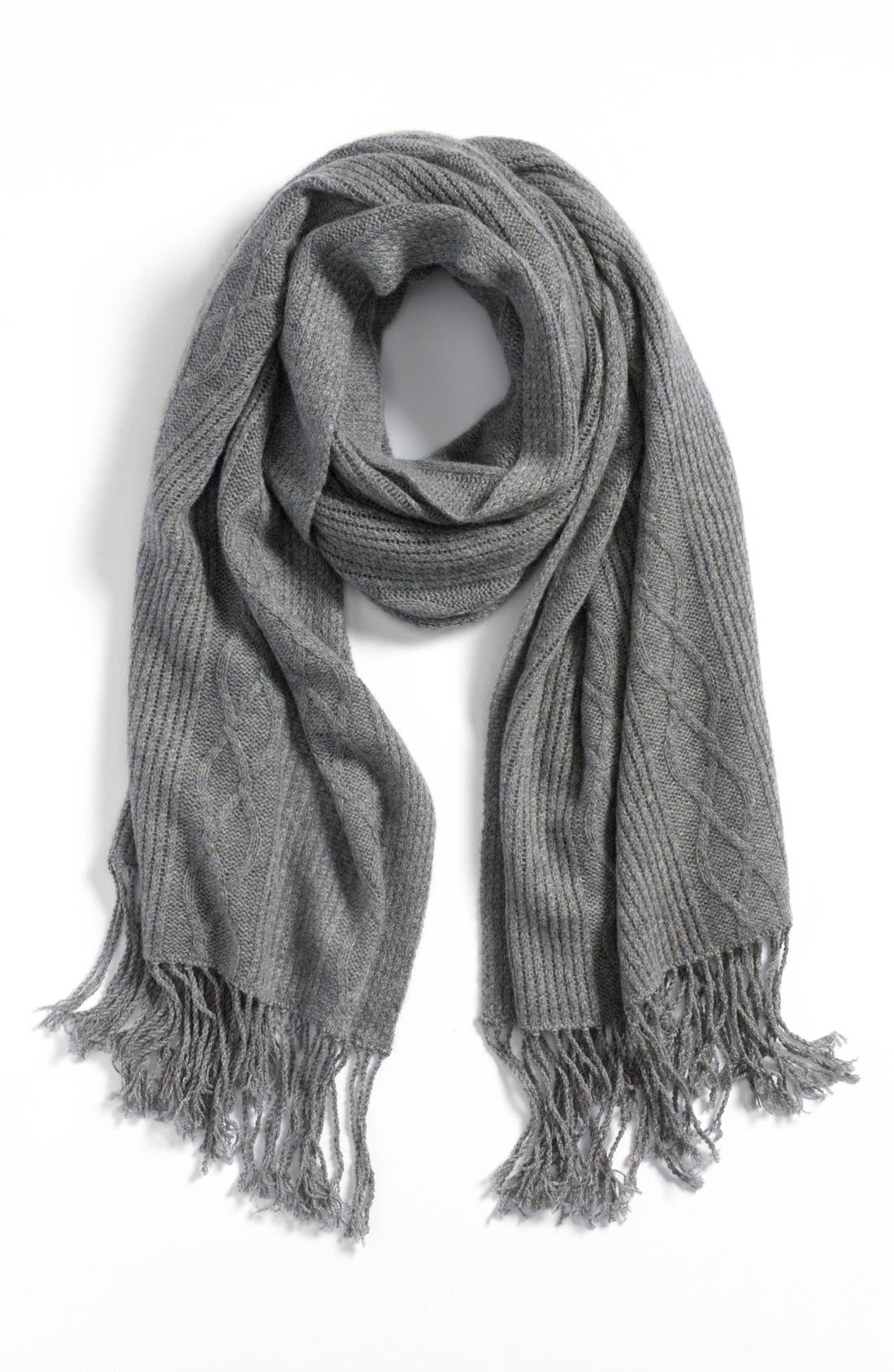 Main Image - Nordstrom 'Luxe' Cable Knit Cashmere Scarf