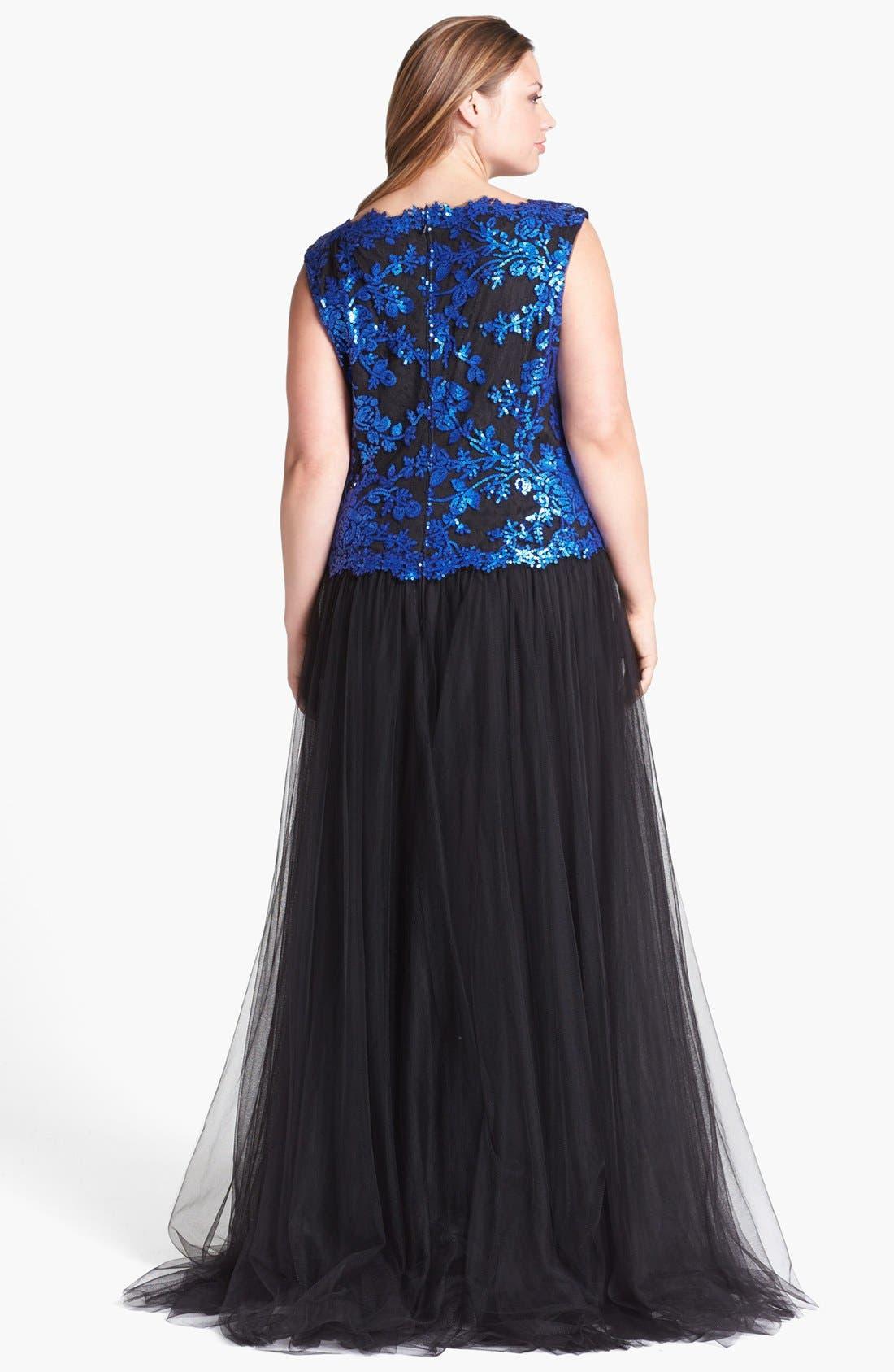 Alternate Image 2  - Tadashi Shoji Embellished Lace & Tulle Gown (Plus Size)