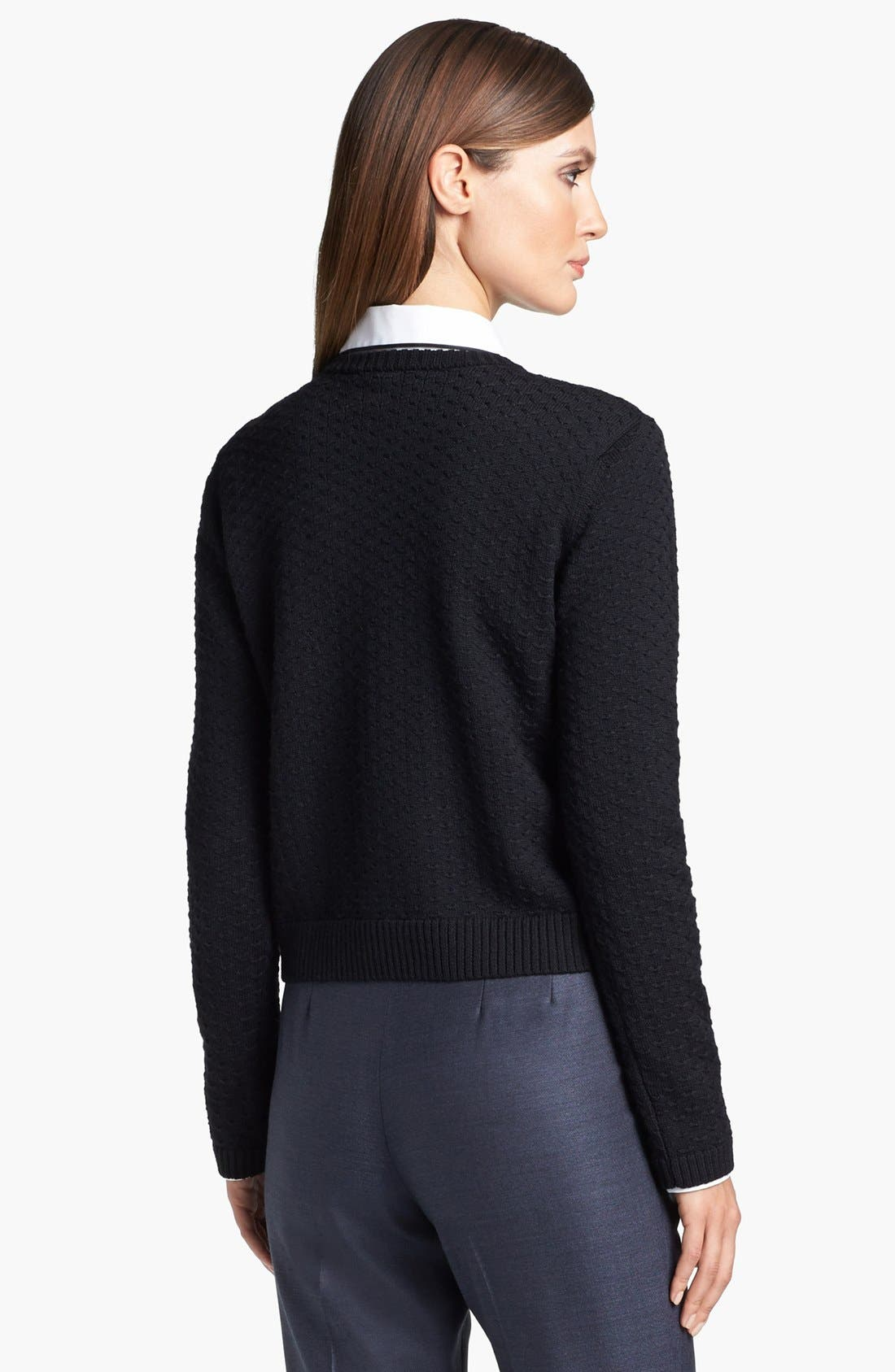 Alternate Image 4  - St. John Yellow Label Shoulder Snap Eyelet Knit Sweater
