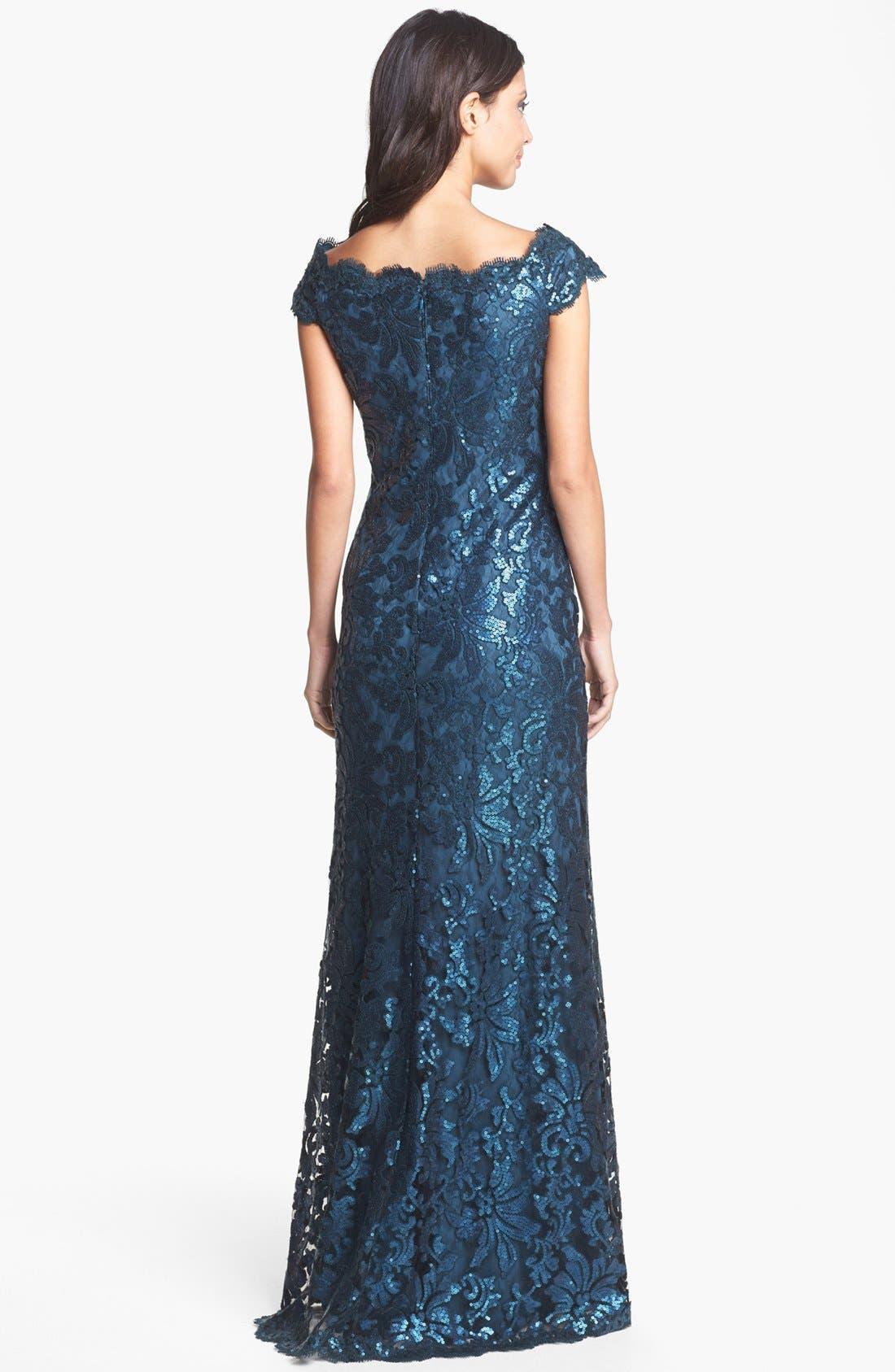 Alternate Image 2  - Tadashi Shoji Sequin Lace Off Shoulder Gown