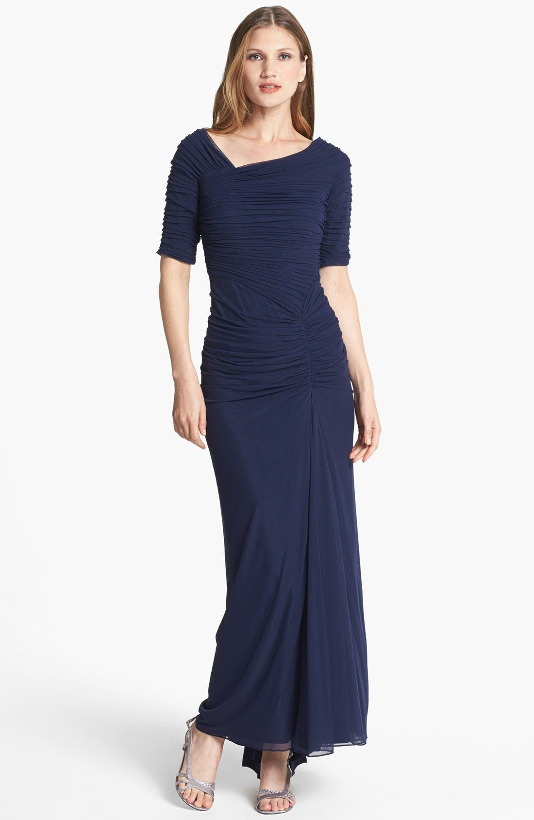 Main Image - Tadashi Shoji Asymmetrical Ruched Mesh Gown