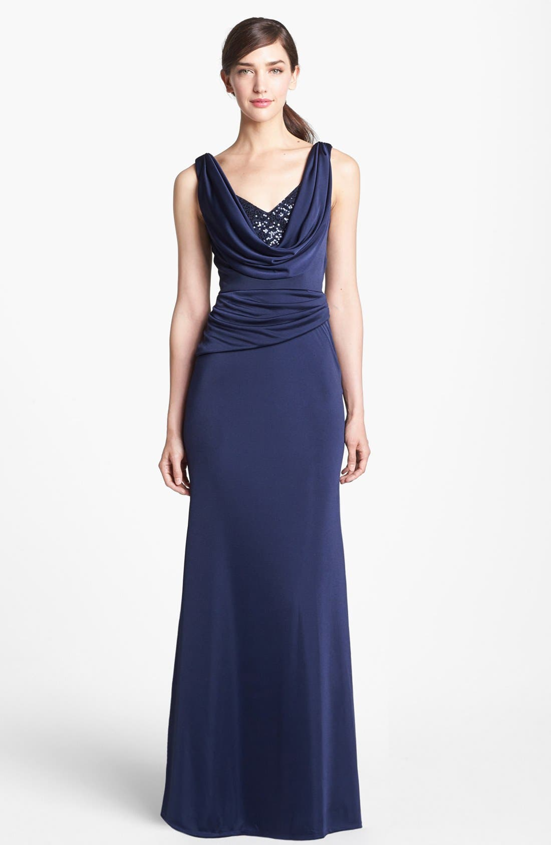 Main Image - ML Monique Lhuillier Embellished Draped Satin Gown