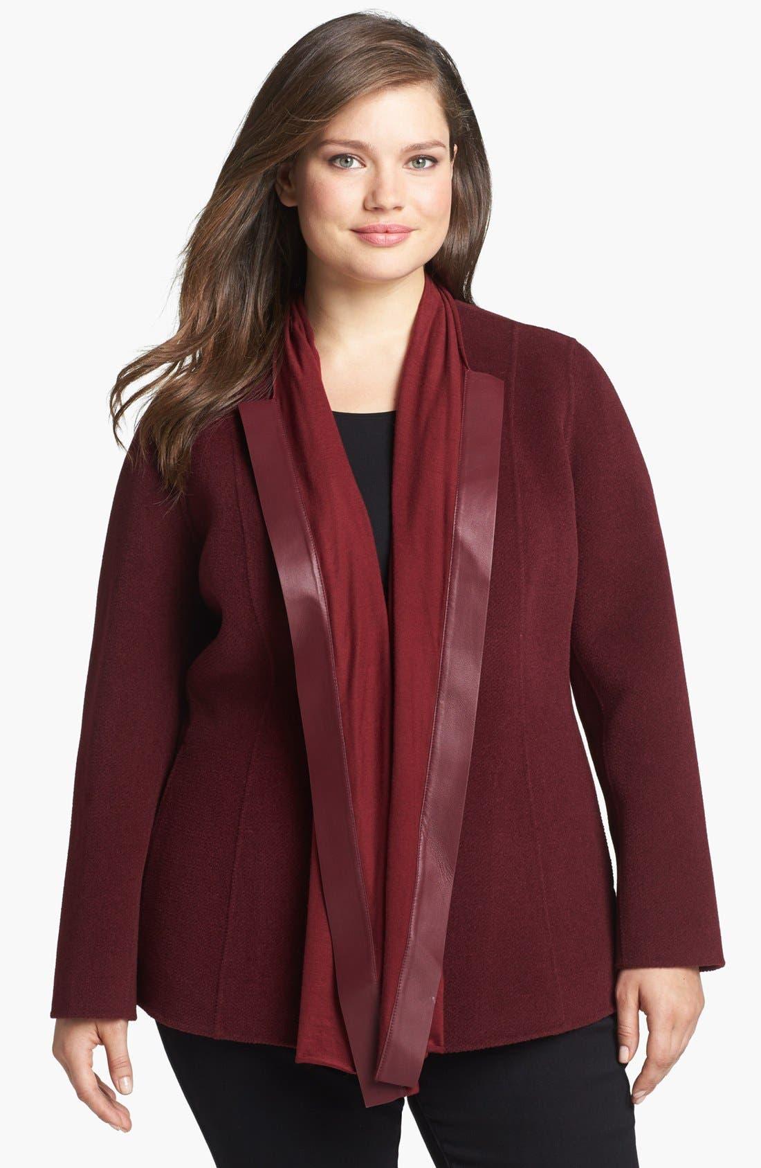 Main Image - Lafayette 148 New York 'Alessa' Leather Trim Wool & Angora Jacket (Plus Size)