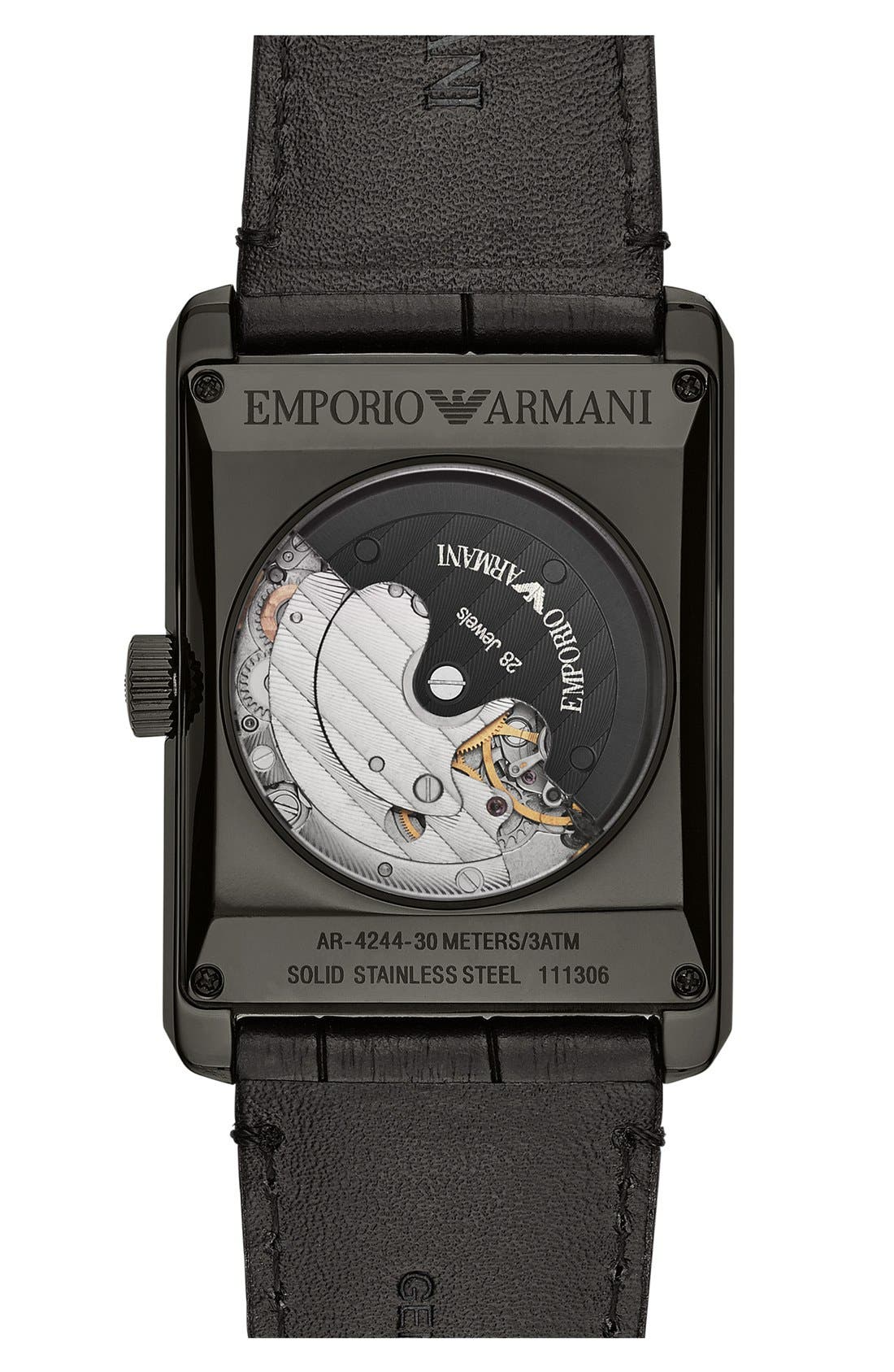 Alternate Image 2  - Emporio Armani Rectangular Meccanico Automatic Leather Strap Watch, 34mm x 47mm