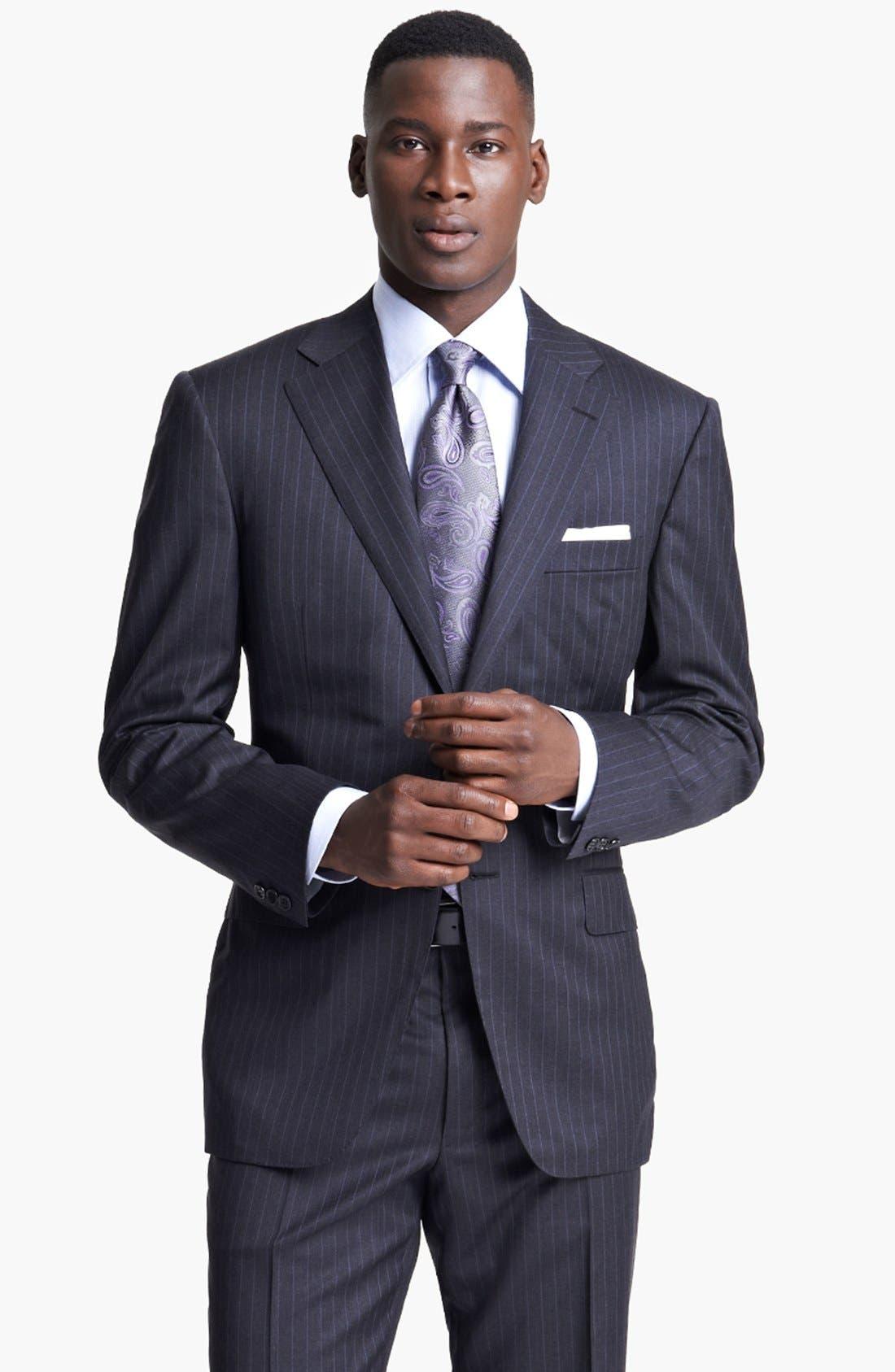 Alternate Image 4  - Canali Classic Fit Stripe Suit