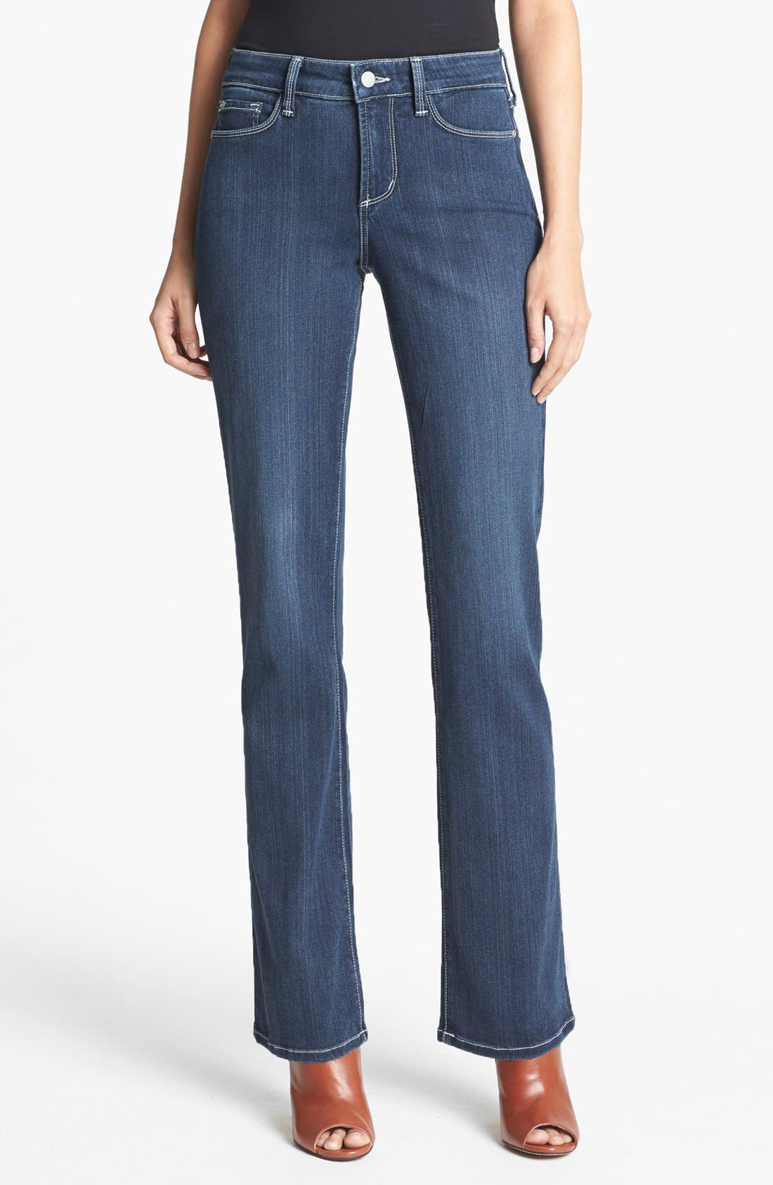 Alternate Image 1 Selected - NYDJ 'Barbara' Stretch Bootcut Jeans (Coral Sea)