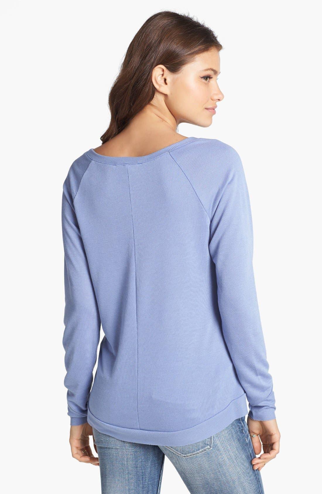 Alternate Image 2  - Haute Society Lightweight Sweatshirt (Juniors)