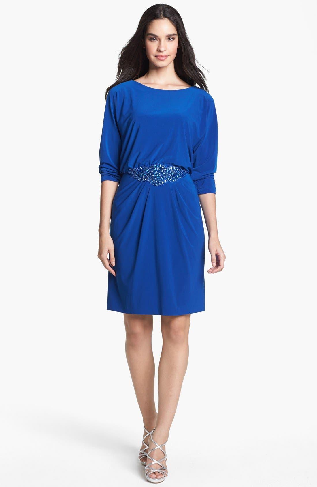 Main Image - Alex Evenings Beaded Waist Jersey Blouson Dress