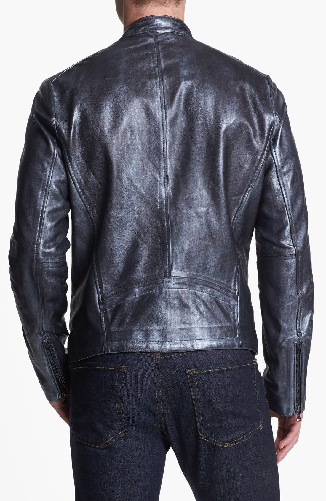 Alternate Image 2  - Kenneth Cole Collection Metallic Leather Moto Jacket