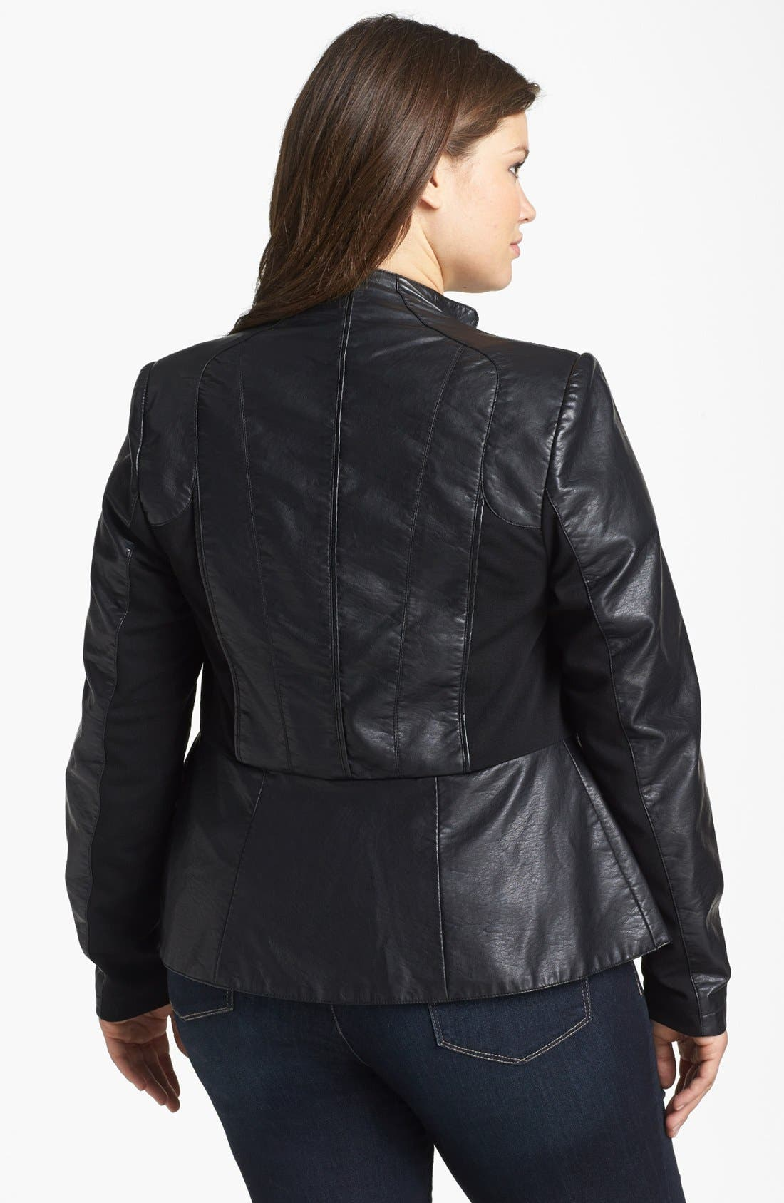 Alternate Image 2  - City Chic 'Cruz' Faux Leather Jacket (Plus Size)