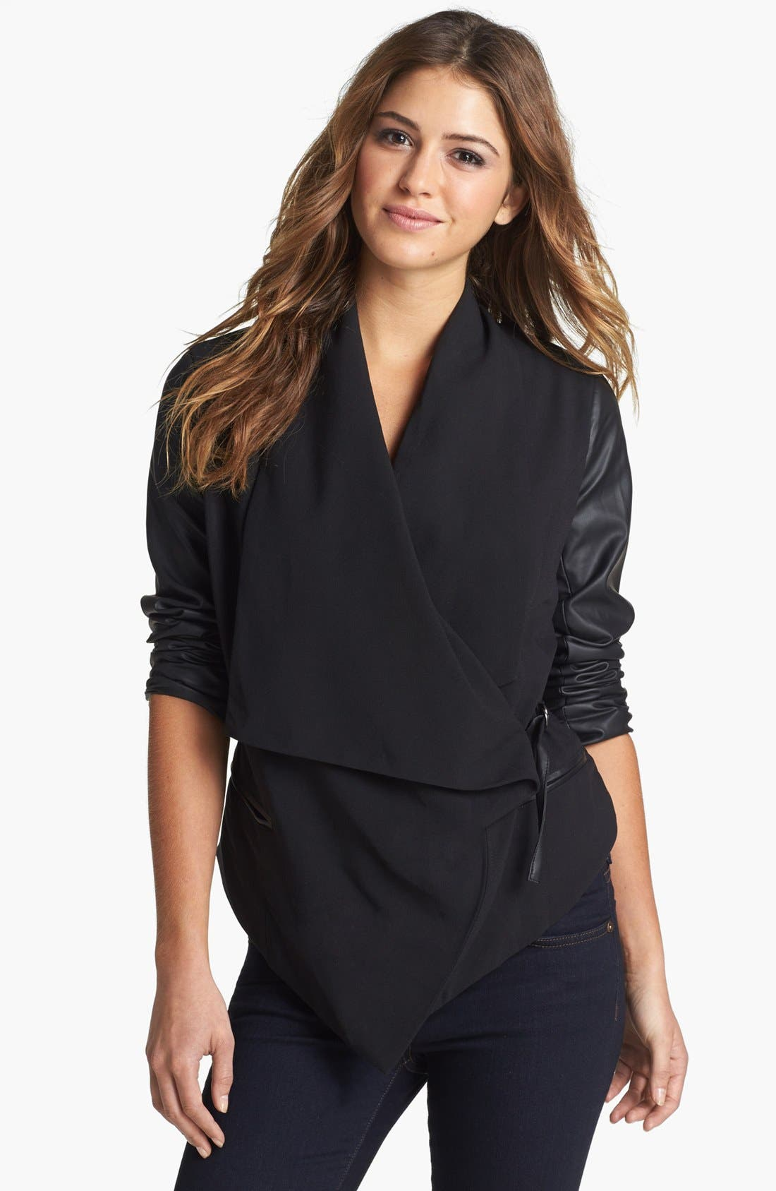 Main Image - kensie Faux Leather Sleeve Drape Front Jacket