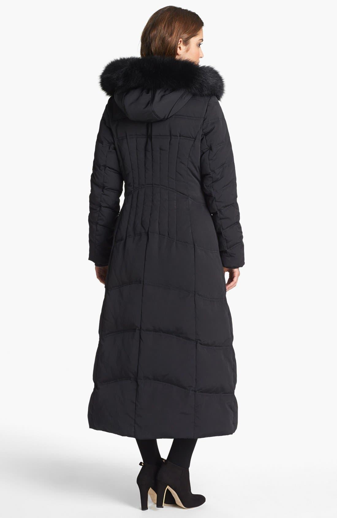 Alternate Image 2  - 1 Madison Genuine Fox Fur Trim Long Down & Feather Coat