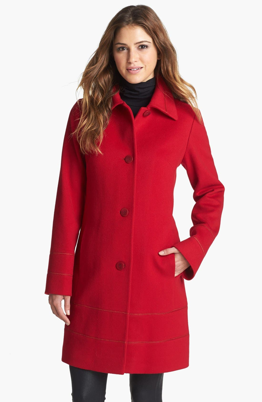 Main Image - Fleurette Stitch Trim Loro Piana Wool Coat (Petite)