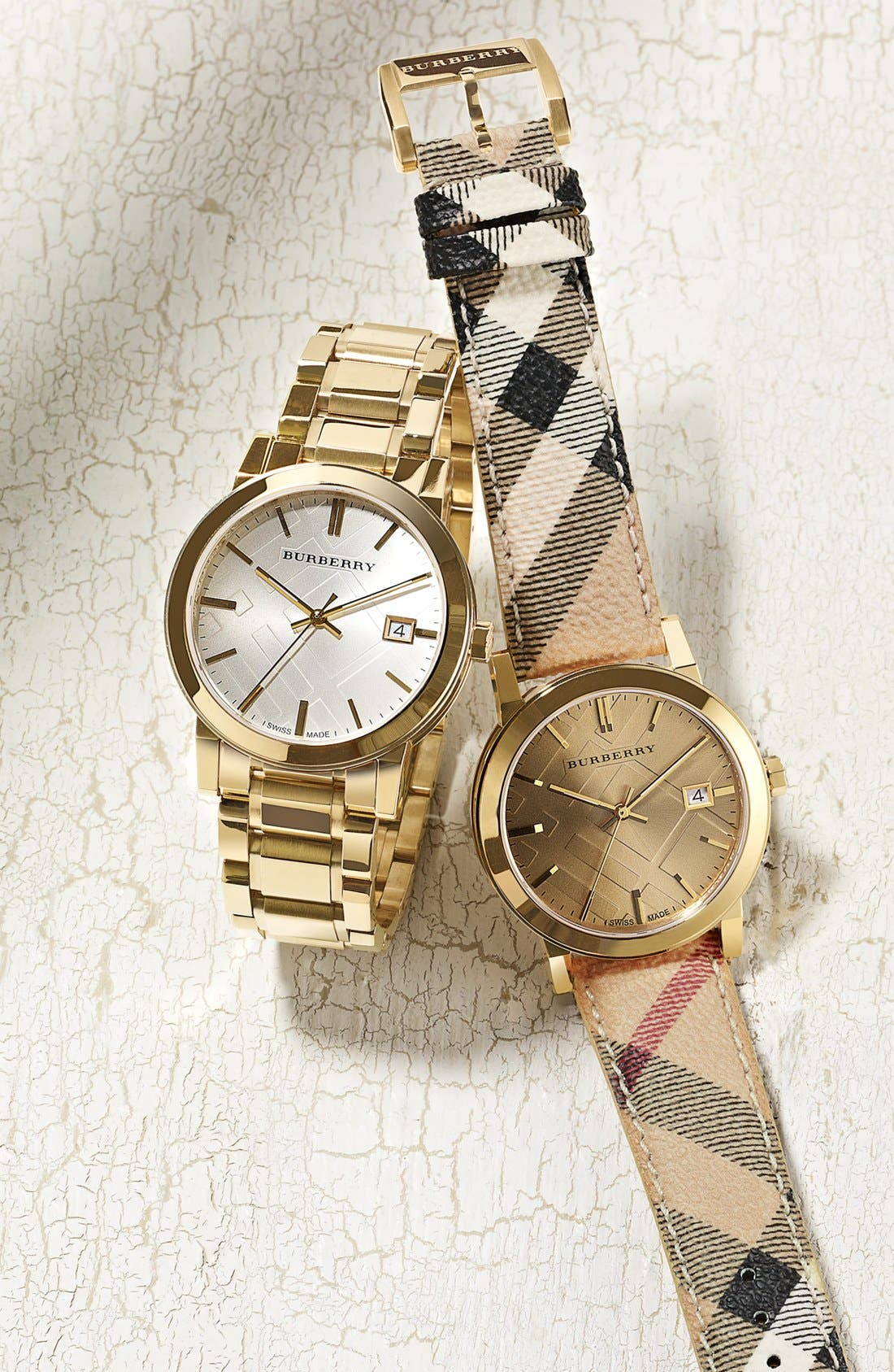 Alternate Image 5  - Burberry Large Check Stamped Bracelet Watch, 38mm