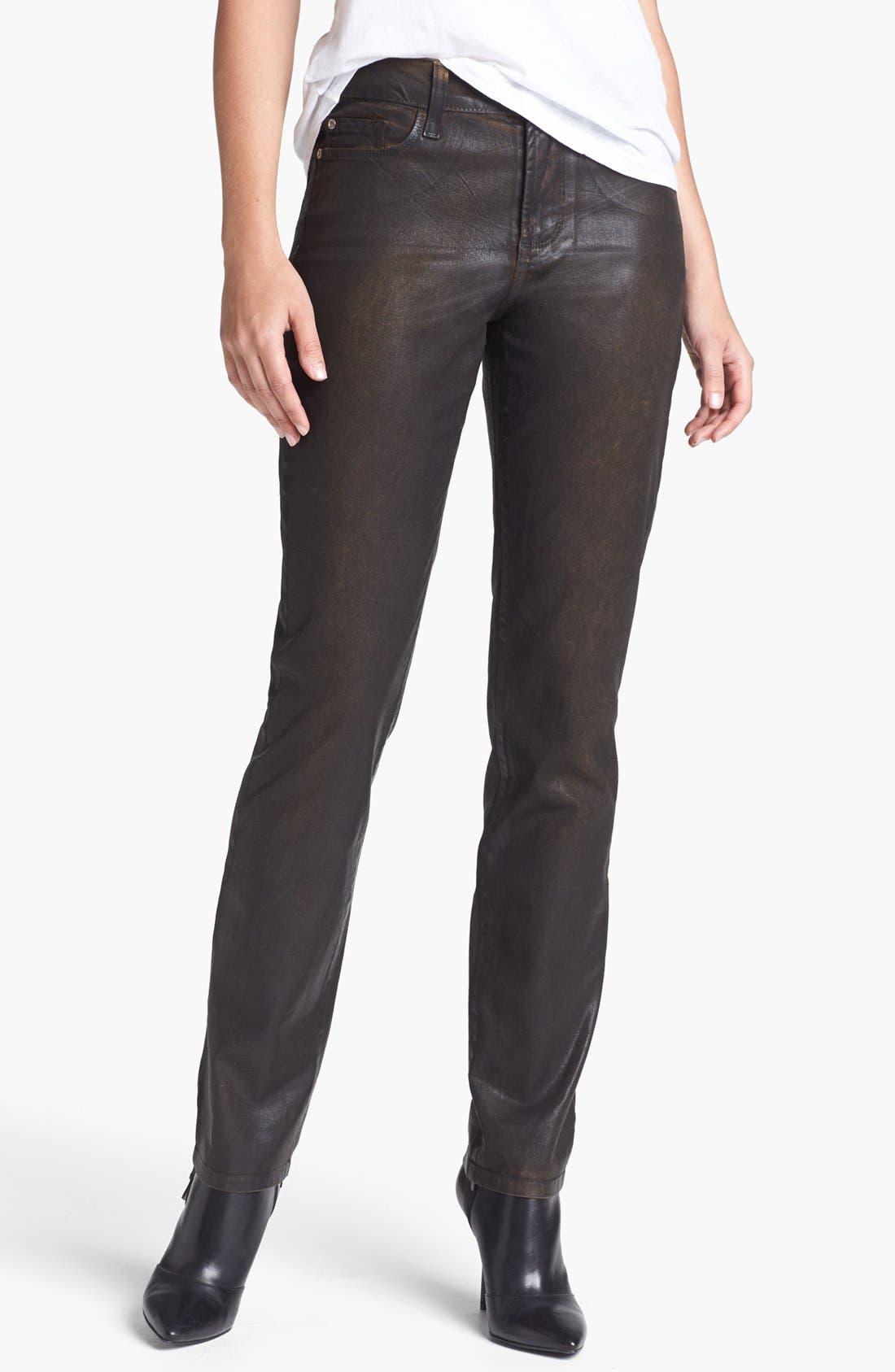 Main Image - NYDJ 'Sheri' Coated Stretch Skinny Jeans (Beat Leather)