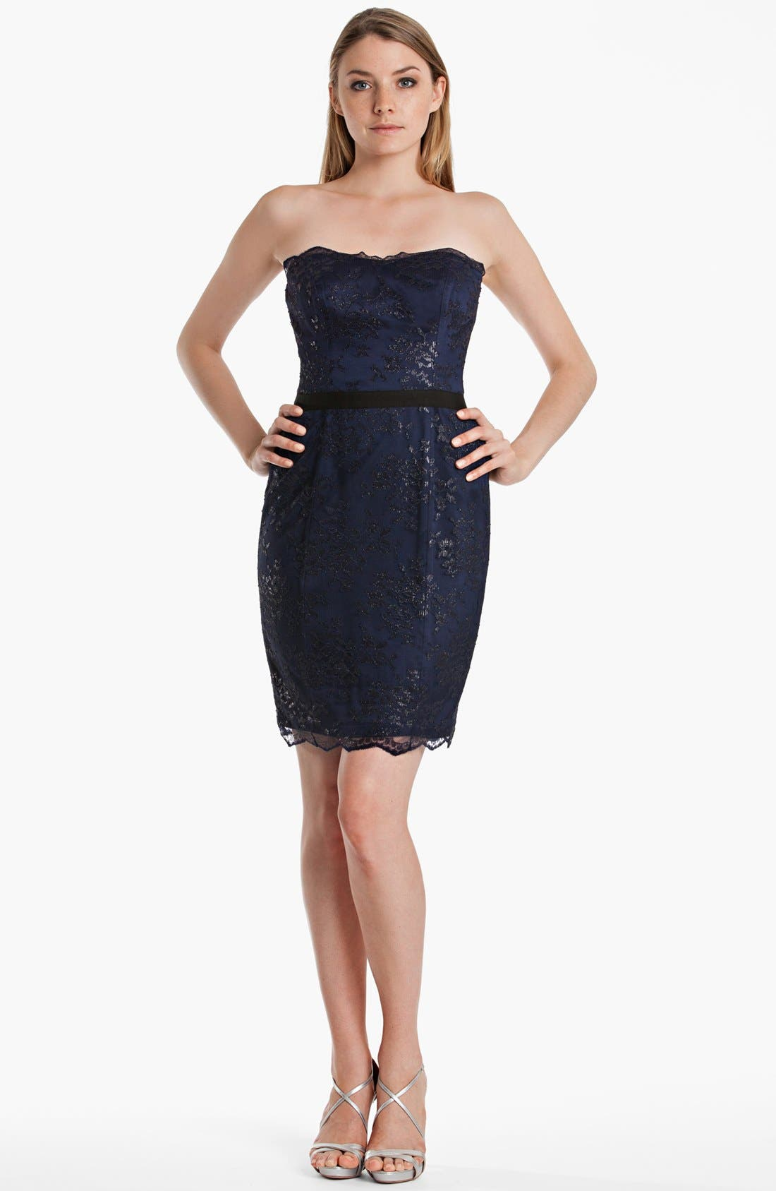 Alternate Image 1 Selected - JS Boutique Metallic Lace Sheath Dress