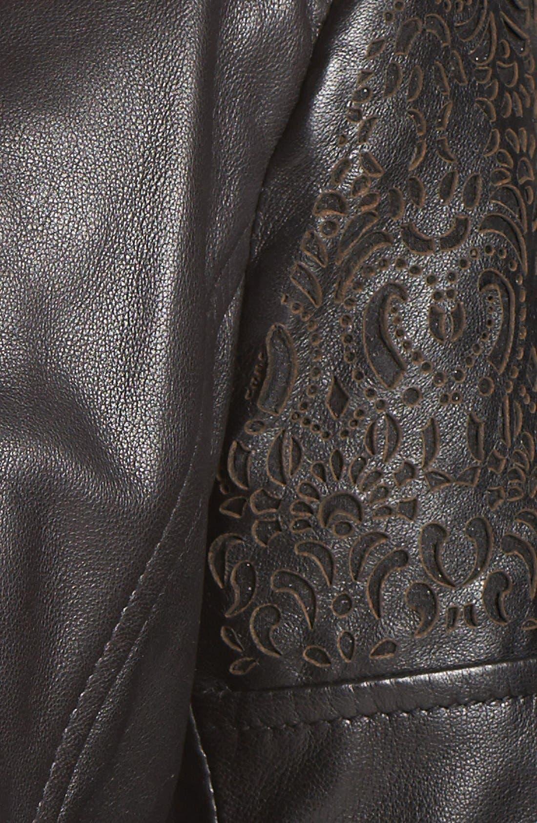 Alternate Image 3  - Bernardo Cutout Trim Leather Moto Jacket (Nordstrom Exclusive)