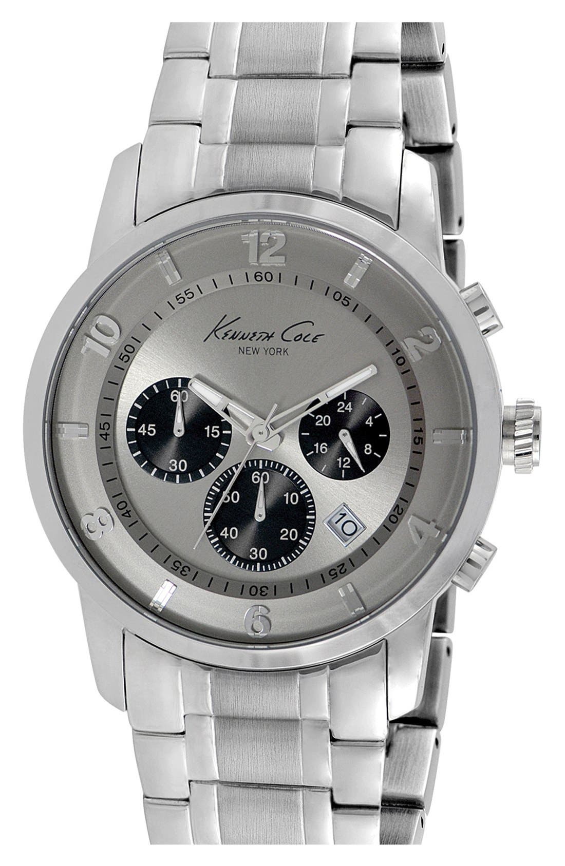 Main Image - Kenneth Cole New York Round Chronograph Bracelet Watch, 44mm
