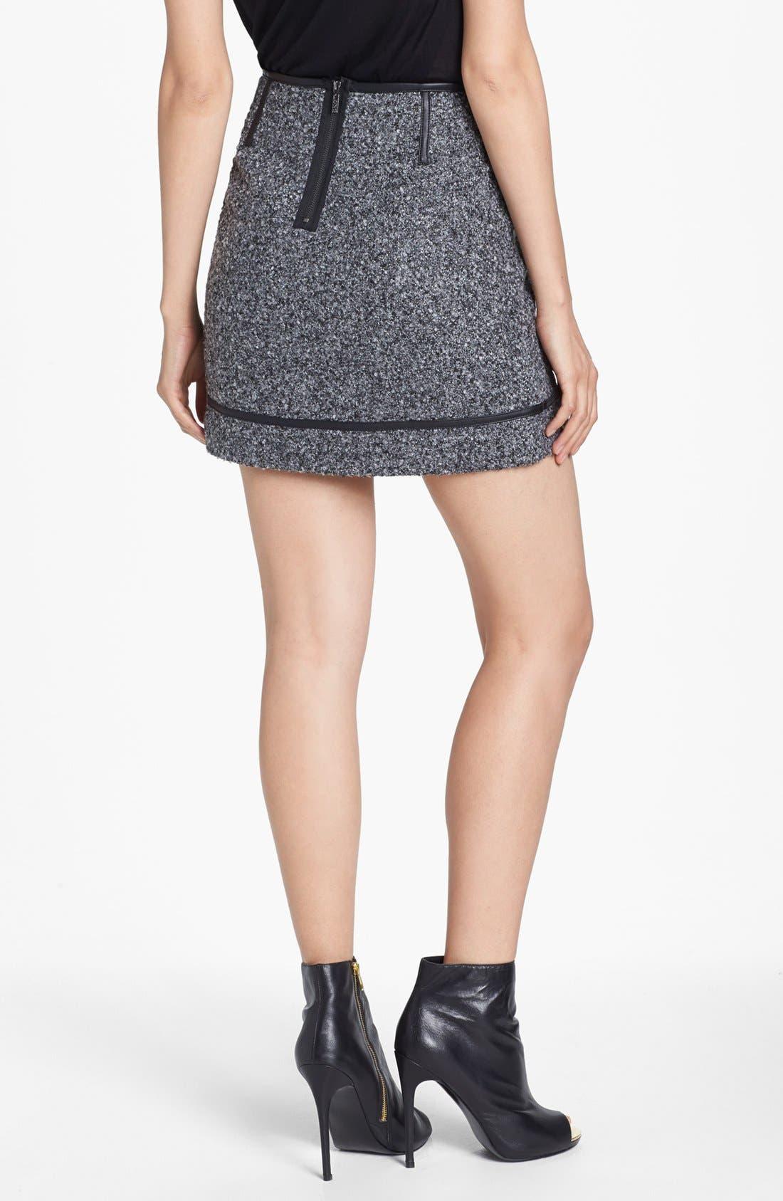 Alternate Image 4  - kensie Faux Leather Trim Tweed Skirt