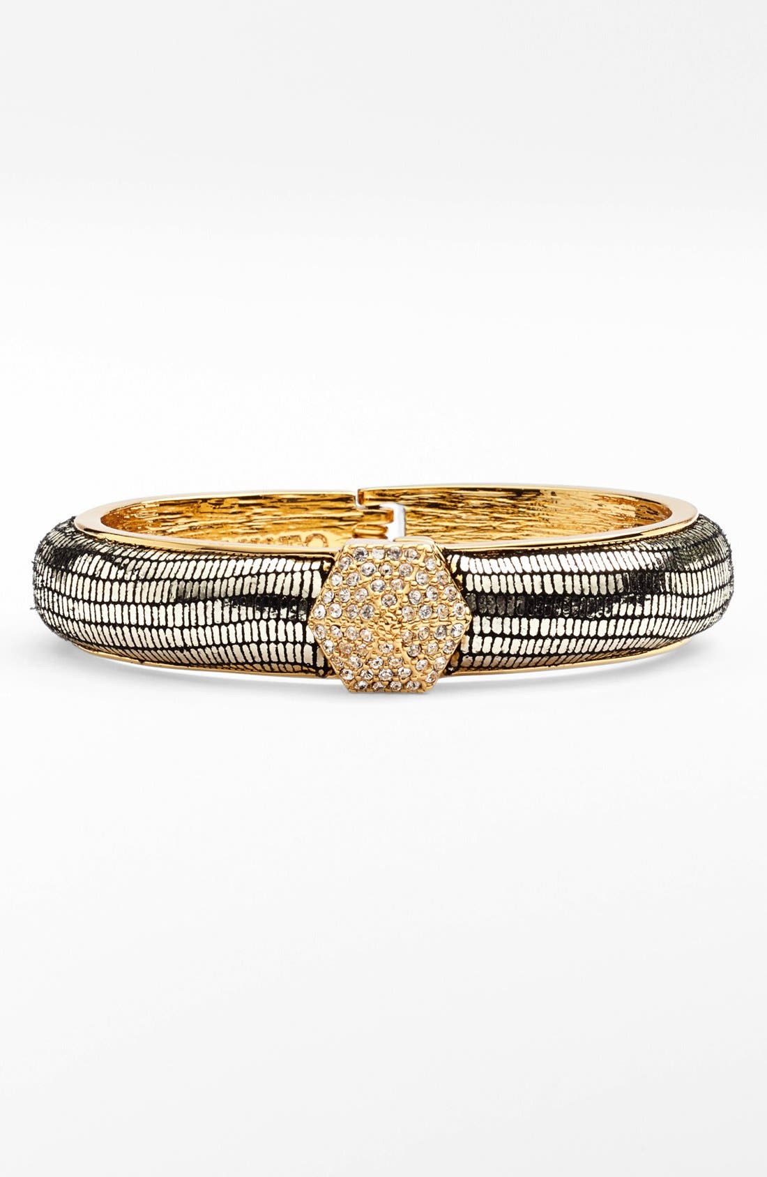 Alternate Image 1 Selected - Vince Camuto Pavé Stud Leather Hinged Bangle