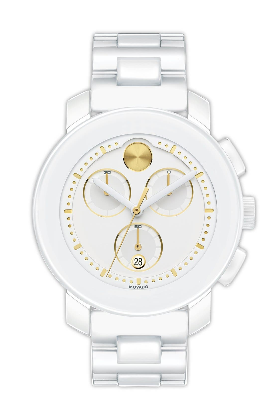 Main Image - Movado 'Bold Chrono' Two-Tone Ceramic Bracelet Watch, 38mm