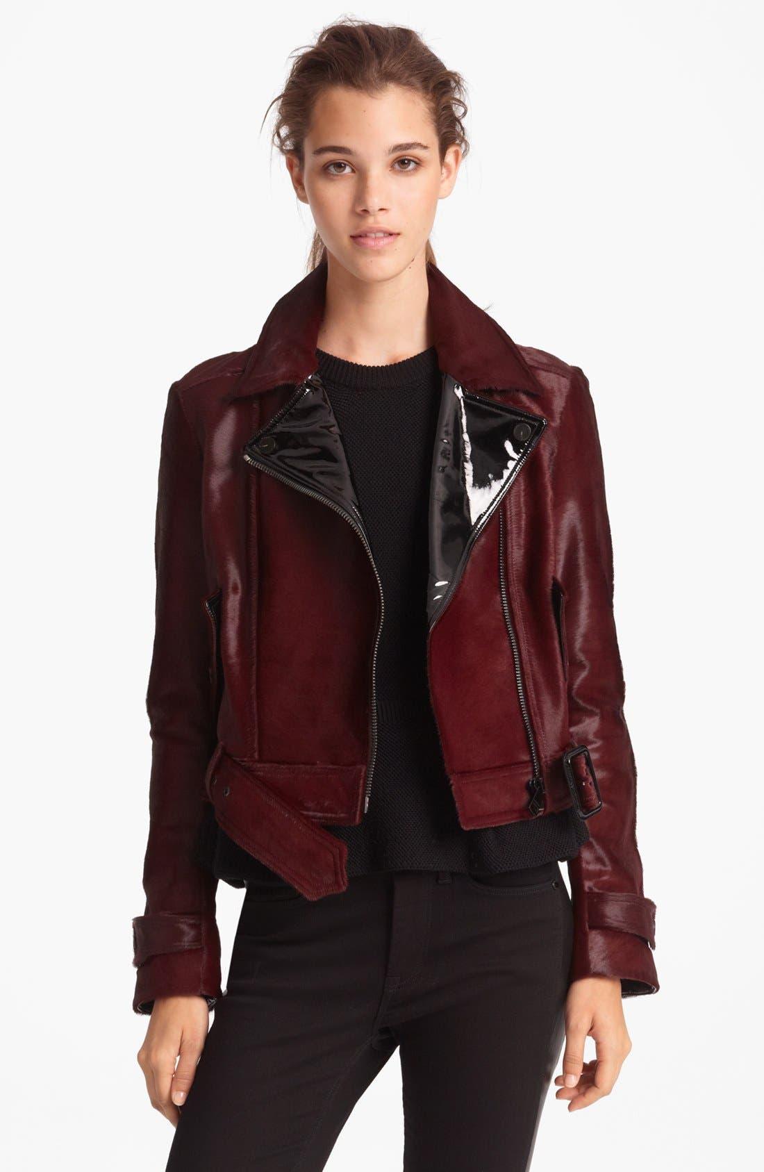 Alternate Image 1 Selected - Burberry London Genuine Calf Hair Moto Jacket
