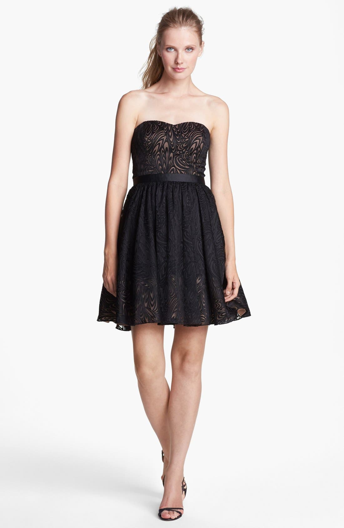 Main Image - Aidan Mattox Strapless Fit & Flare Jacquard Dress