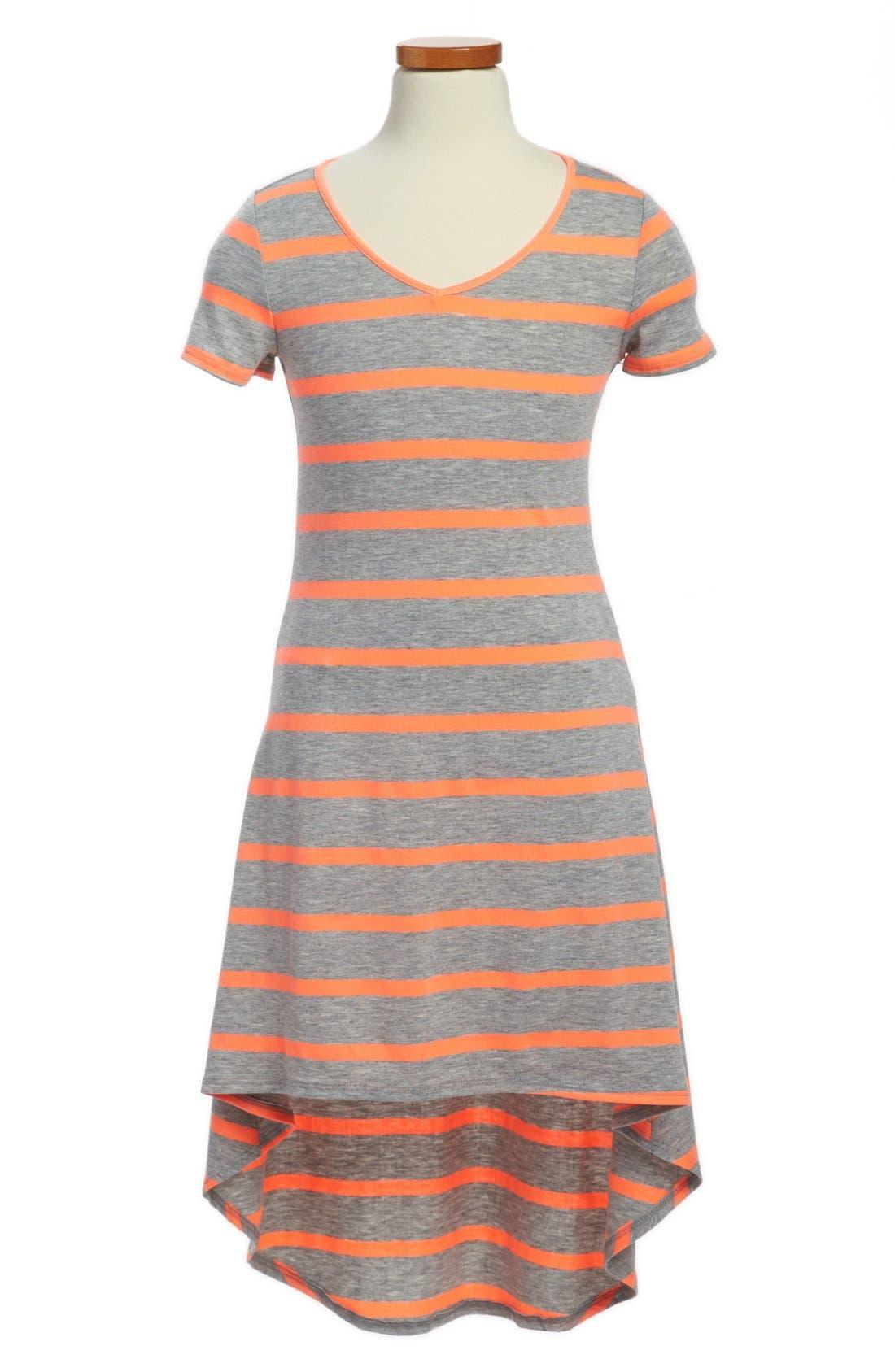 Alternate Image 1 Selected - Soprano Stripe High/Low Dress (Little Girls & Big Girls)
